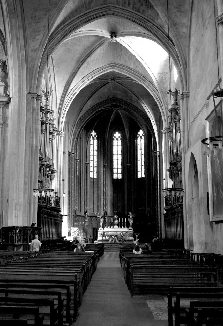 Looking through the Gothic nave into what's known as the choir