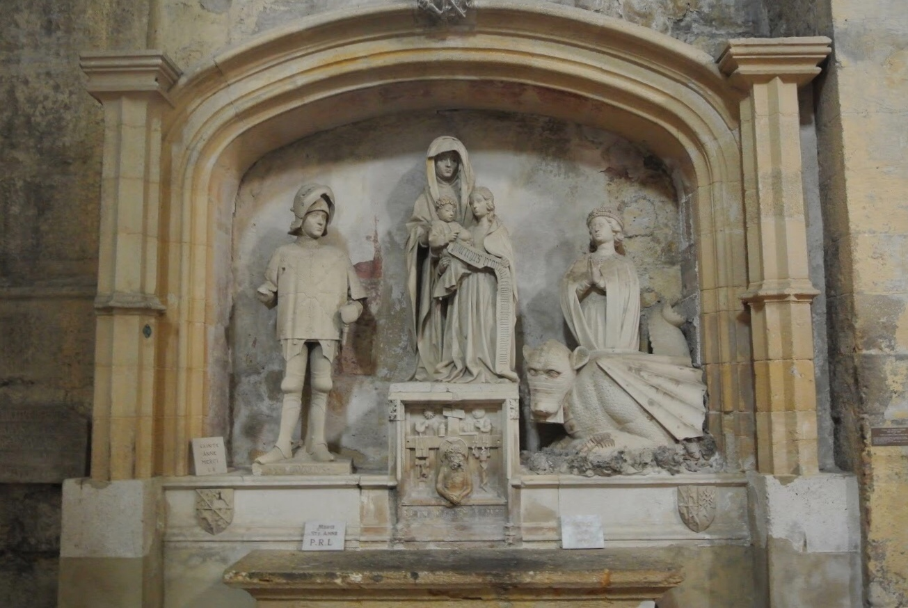 Three saints can be found in the Baroque nave, including Marguerite of Antioch, off to the right, with an unusual-looking dragon