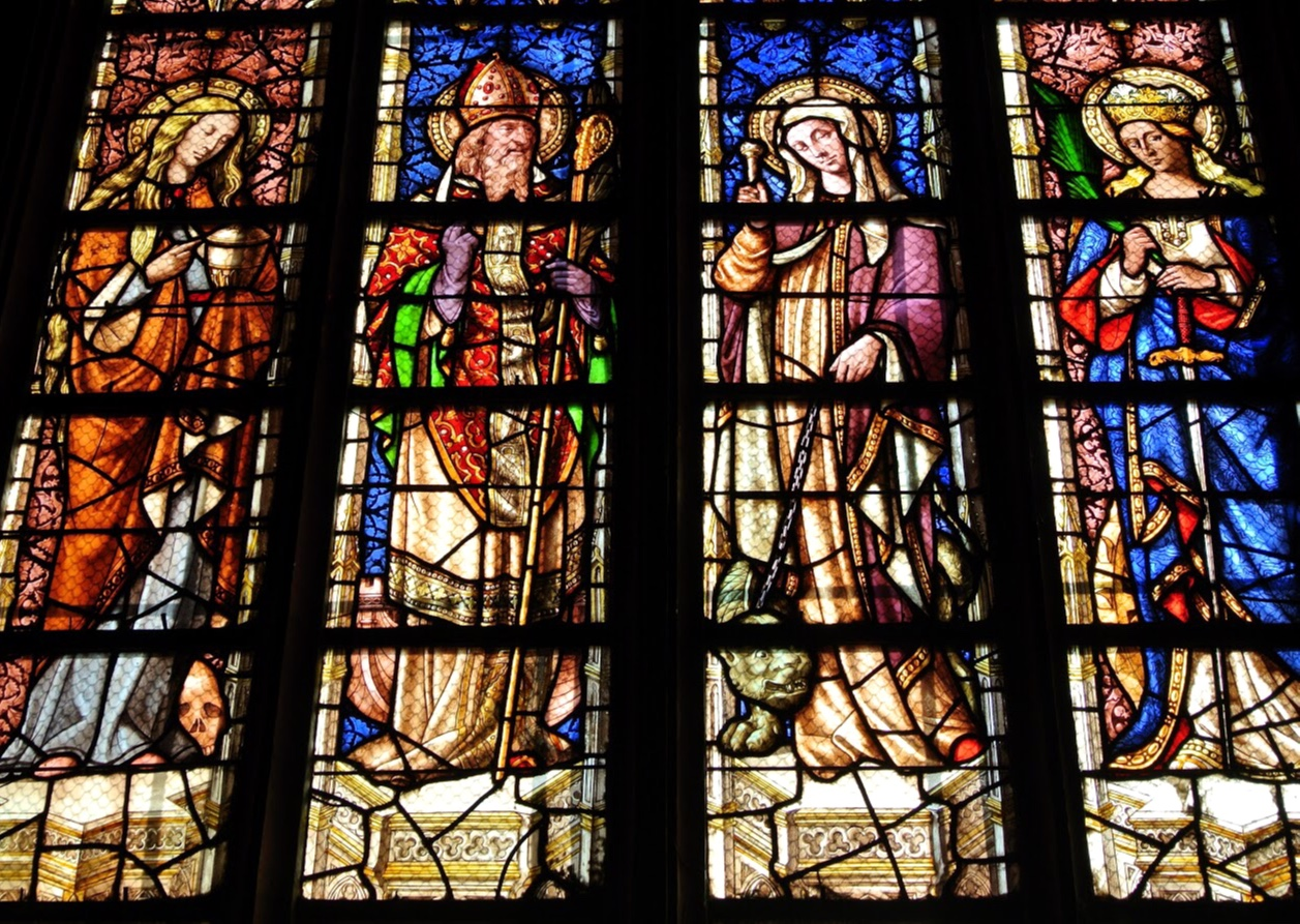 Stained glass saints in Saint Sauveur