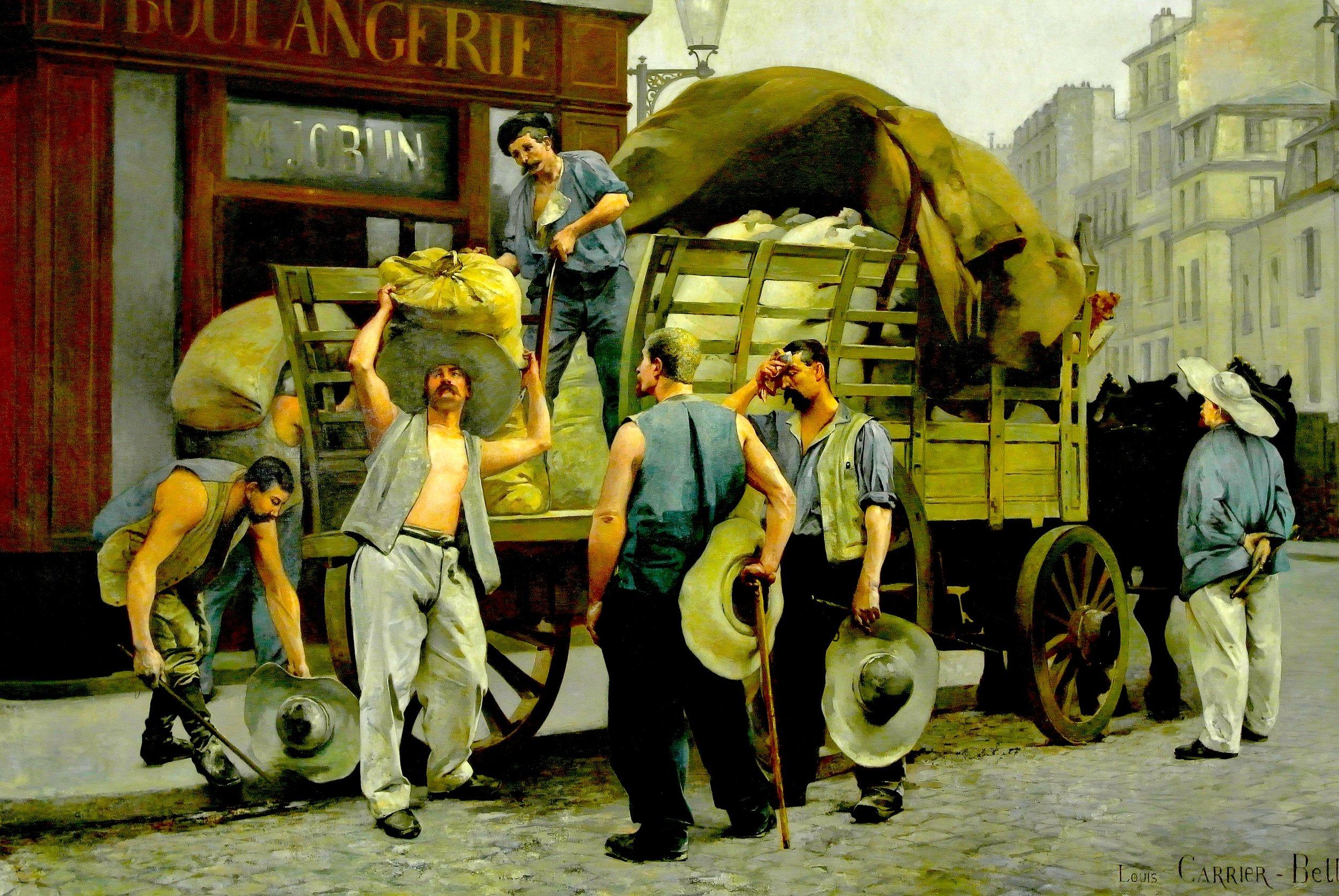 Porteurs de farine, scène parisienne  by Louis-Robert Carrier-Belleuse, 1885