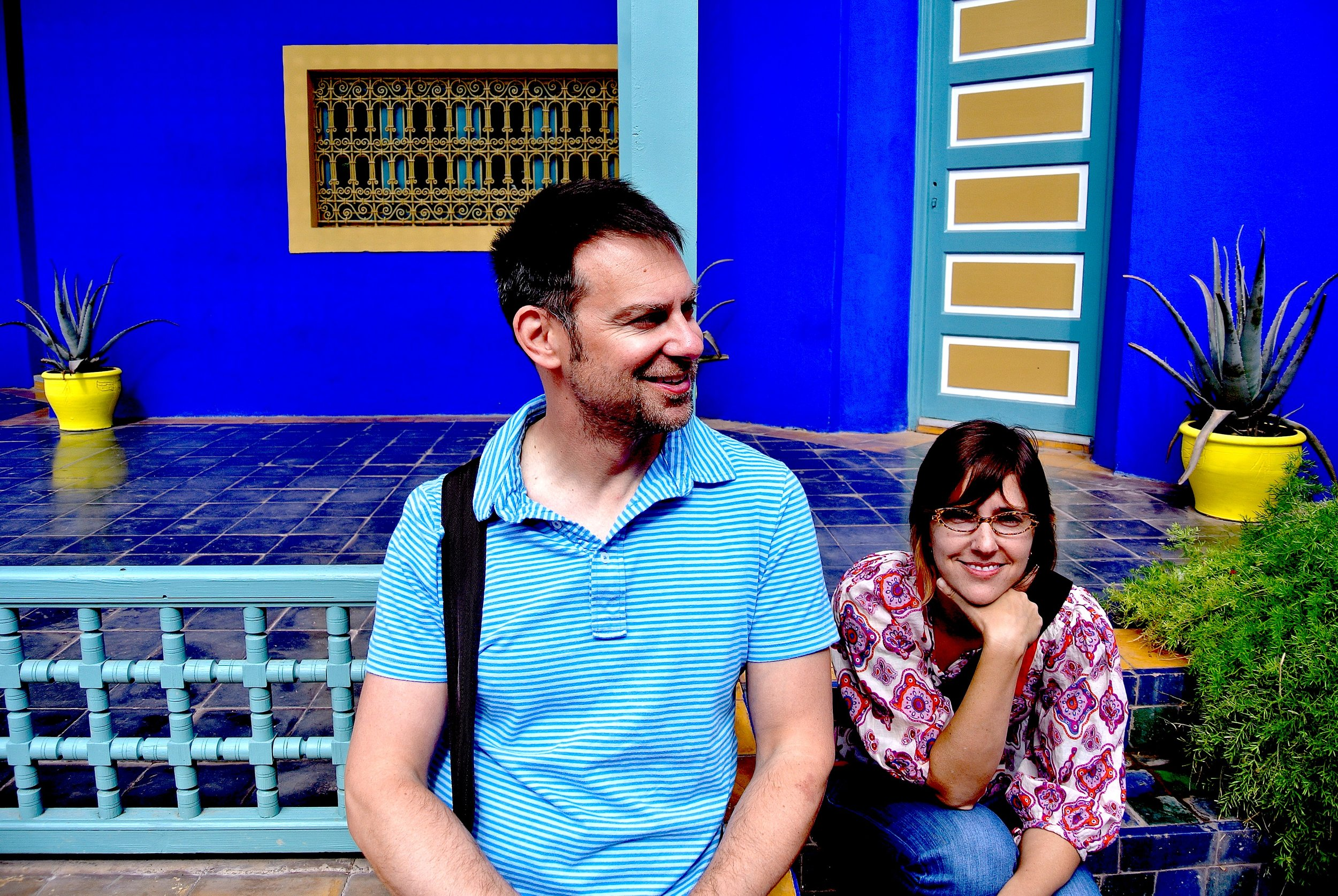 Duke and Vanessa in the Majorelle Gardens