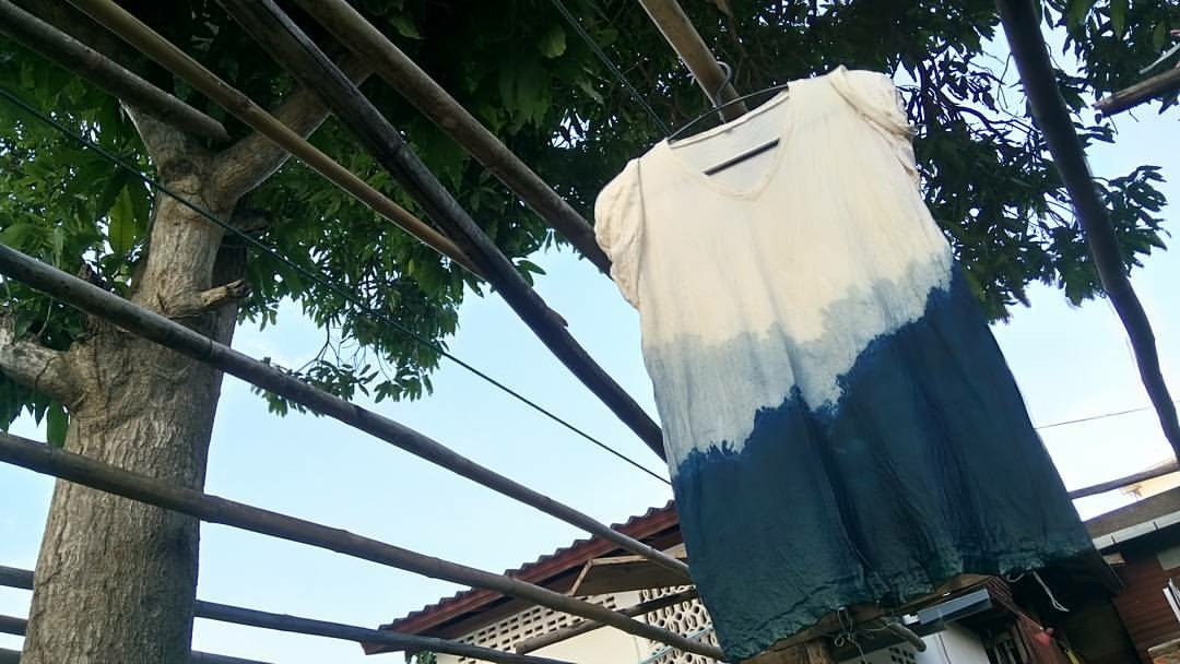 A dip-dyed ombré T-shirt Patty created hangs to dry