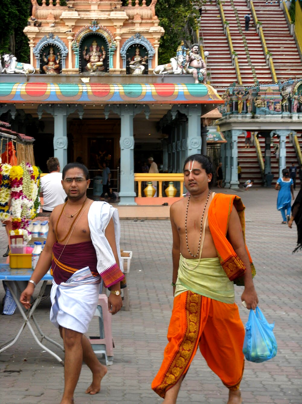 The Batu Caves are popular with Hindu worshippers, especially during the Thaipusam Festival, when hundreds of thousands of pilgrims descend upon the temple