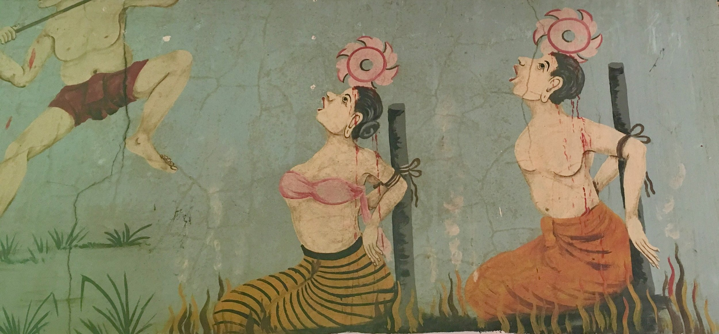 In the main viharn are depictions of Naraka, the Buddhist Hell