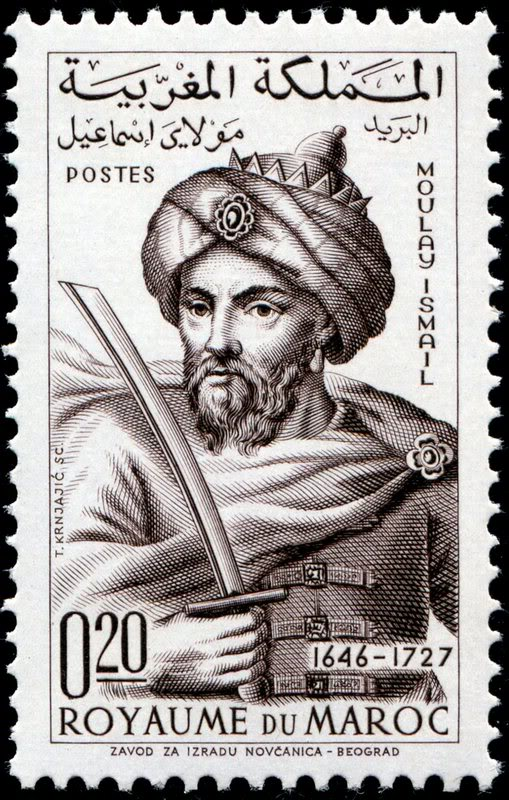 "A stamp depicting Moulay ""the Bloodthirsty"" Ismail Ibn Sharif"