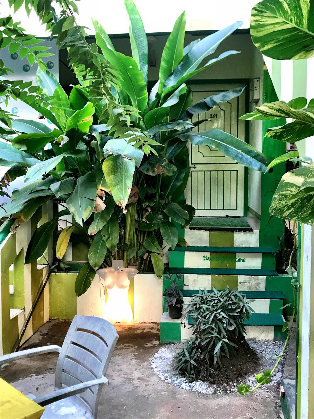 The garden at Johny's is filled with lush greenery — and the occasional monkey