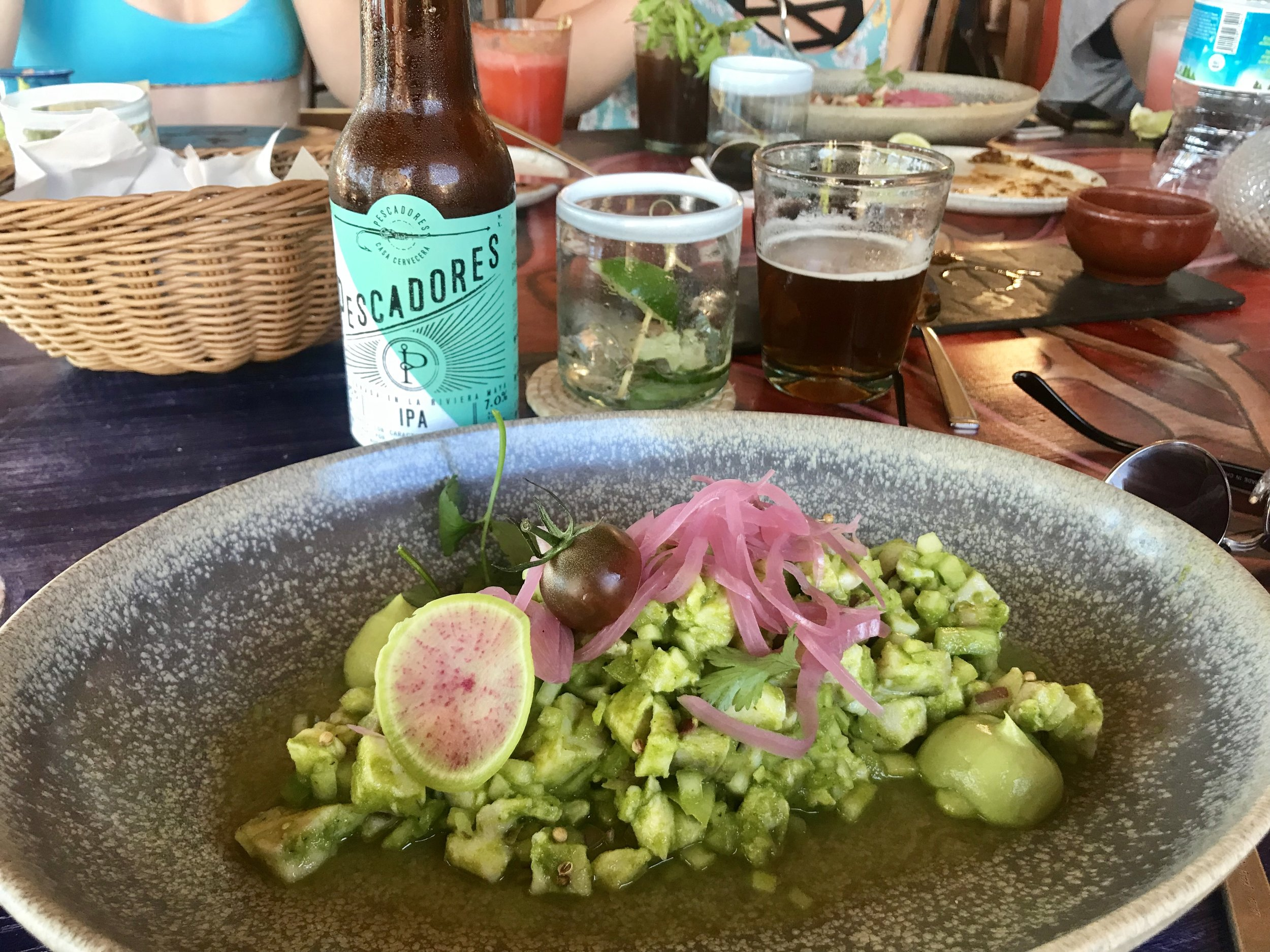 The tasty ceviche at La Zebra, washed down with a great local IPA