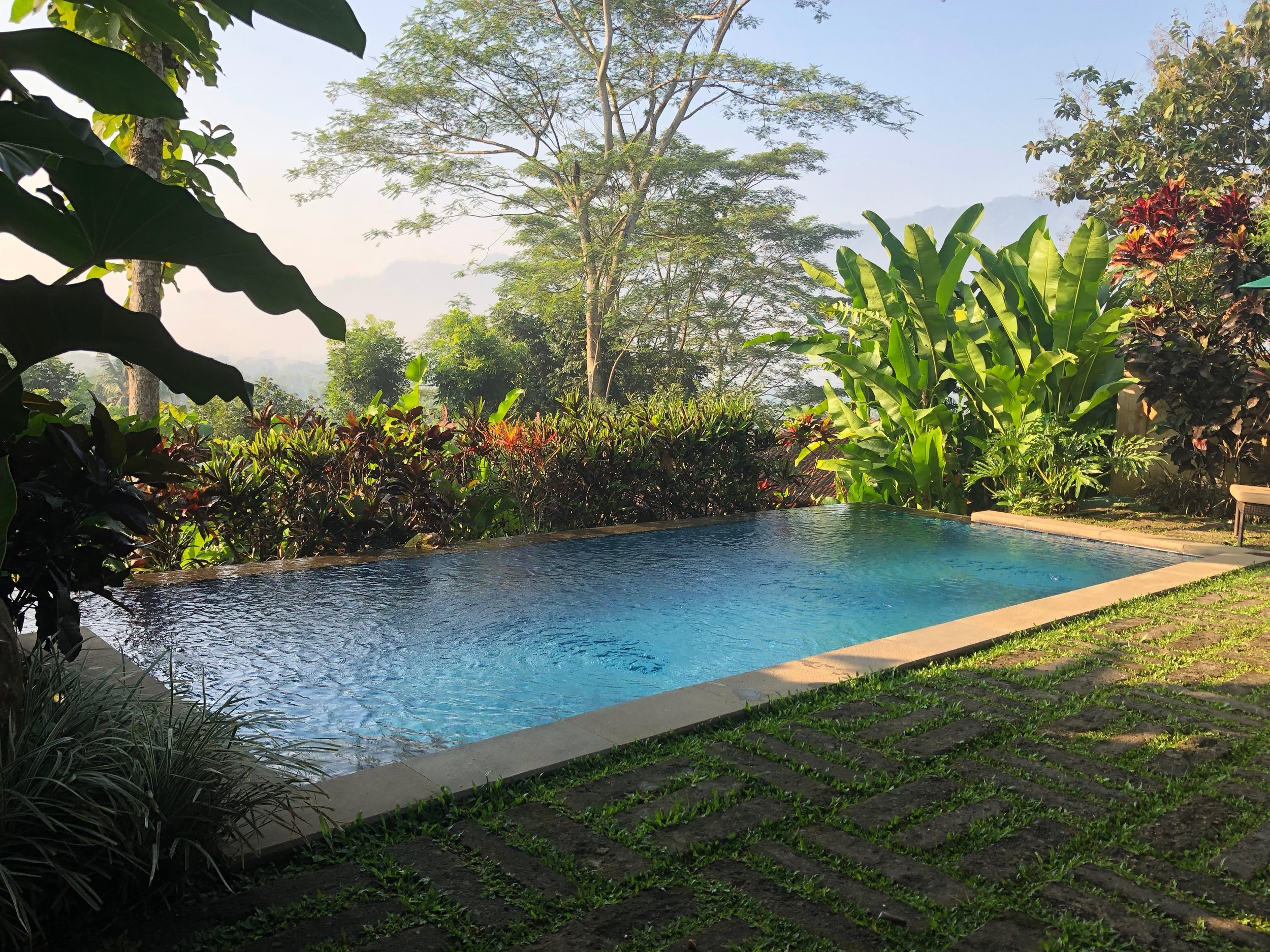 The private infinity pool had a view of Borobudur in the distance