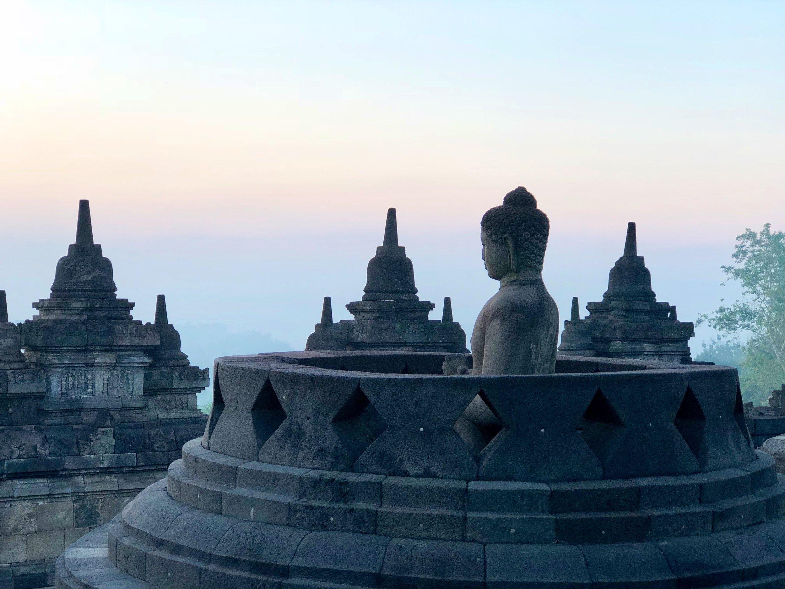 Underneath each stupa hides a seated Buddha statue