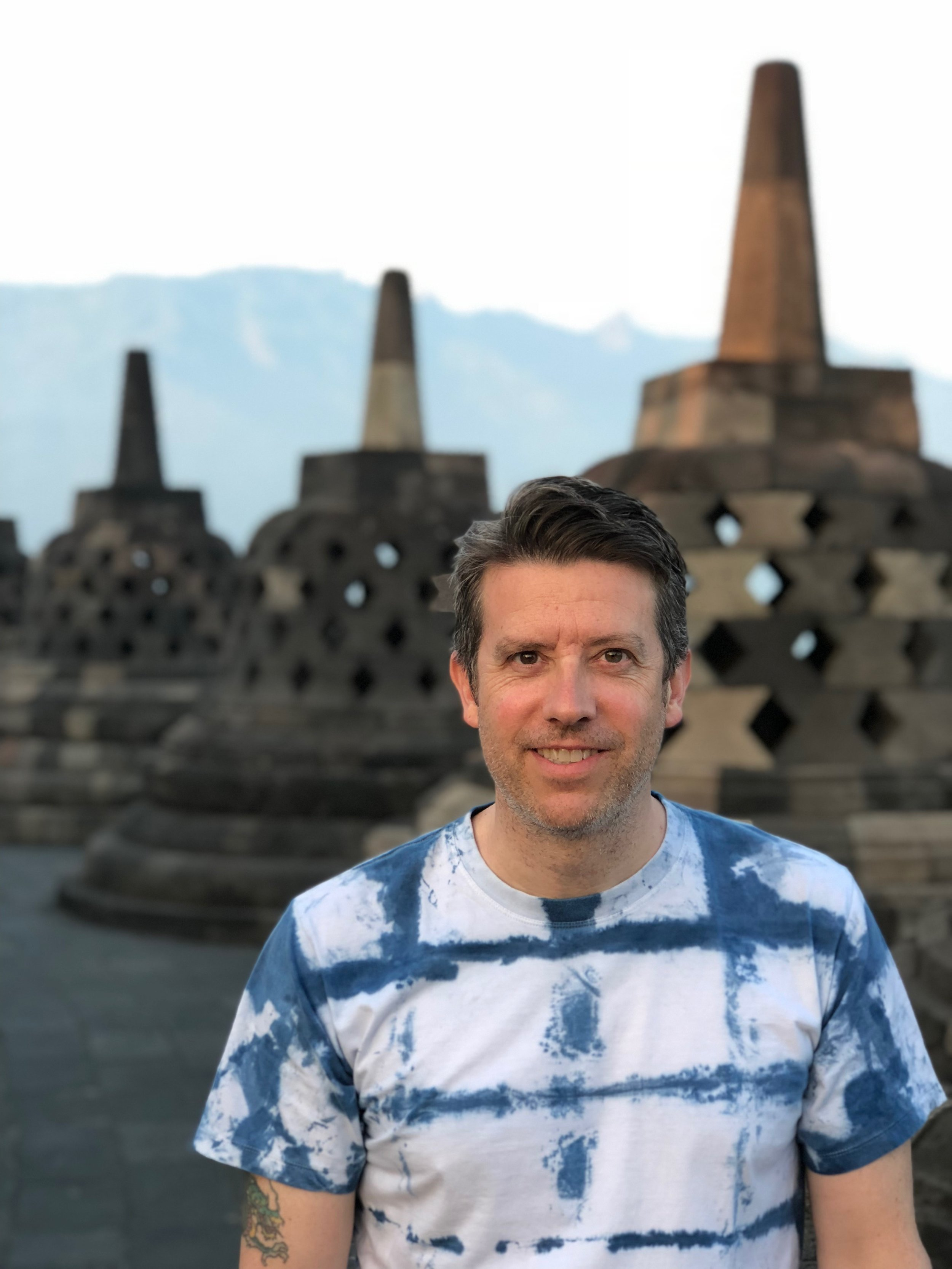 Wally was happy he could spend his birthday at Borobudur