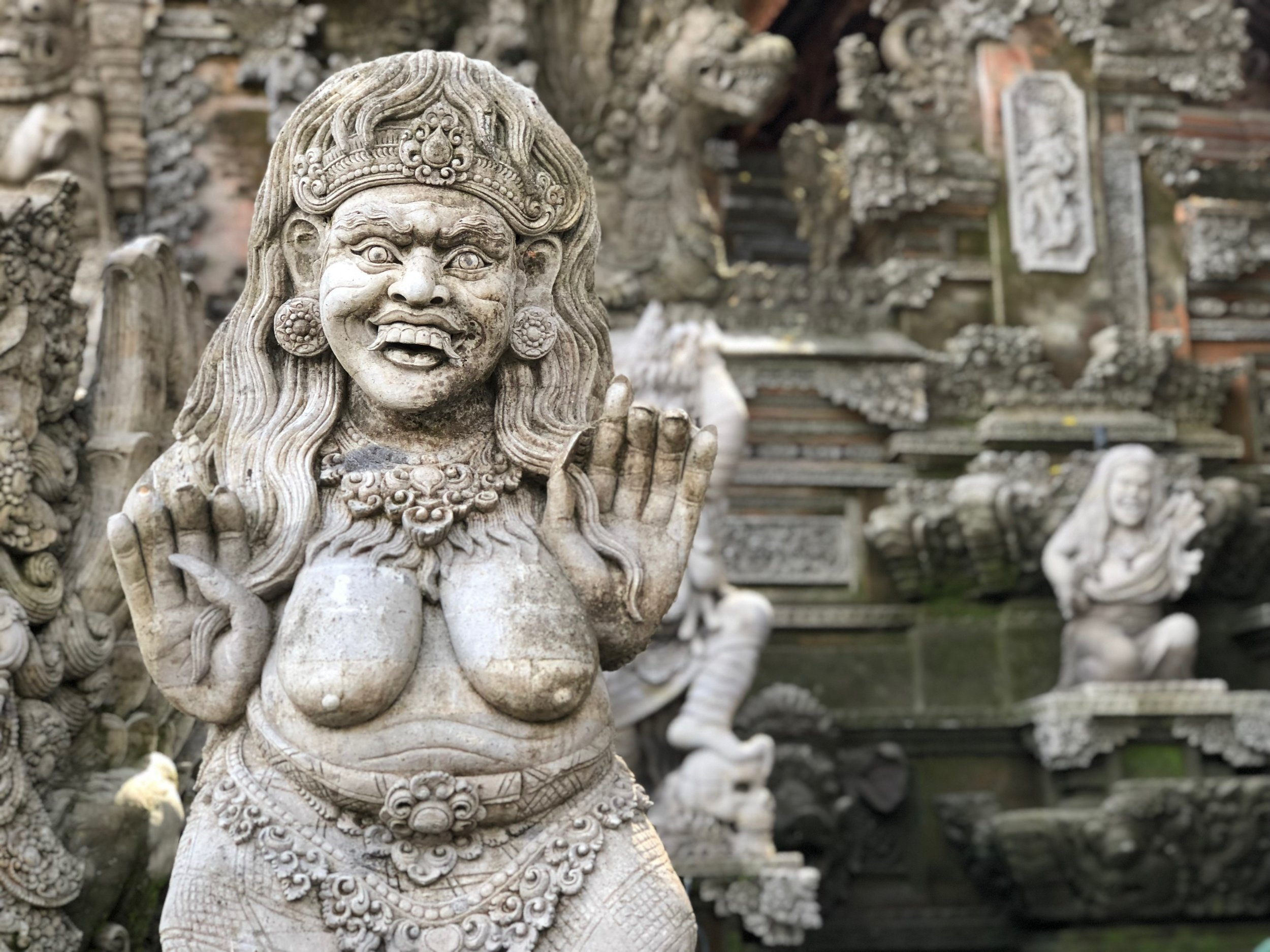 NSFW: The temple is covered with depictions of bare-breasted demonic women