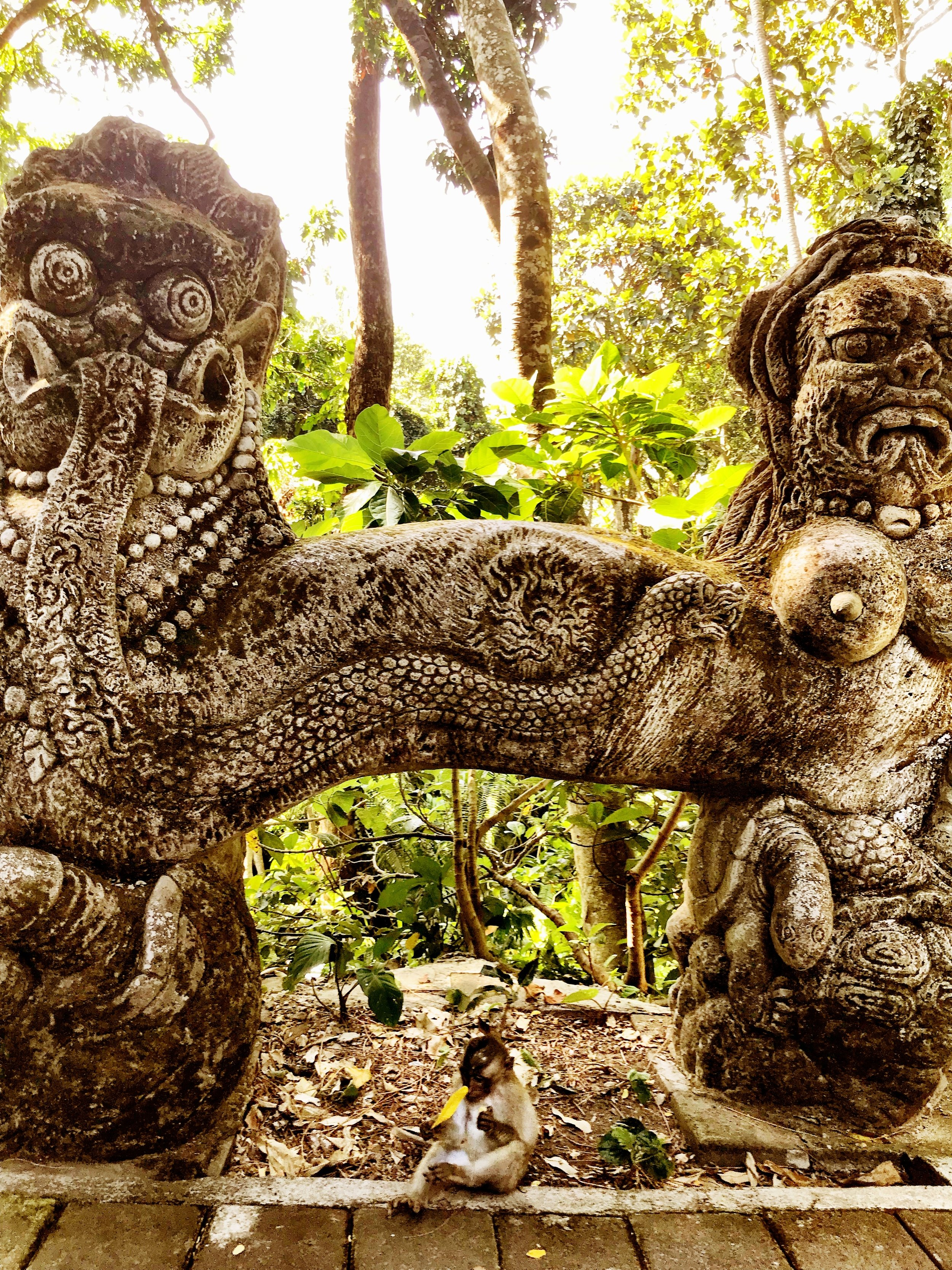 Statues in the Monkey Forest tend to be grotesque — which Duke and Wally love