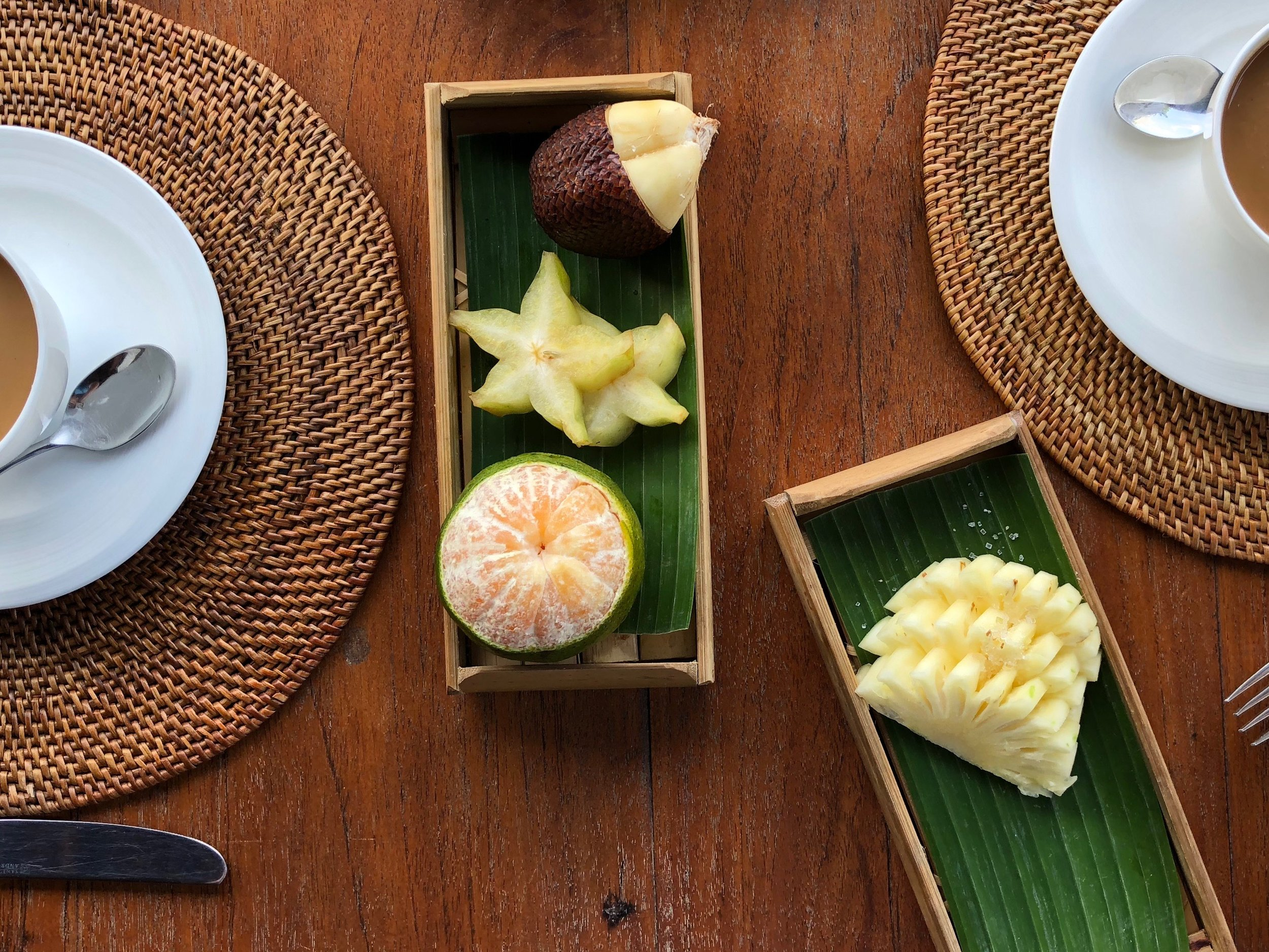 Exotic fresh fruit, including snakefruit, starfruit, pomelo and pineapple