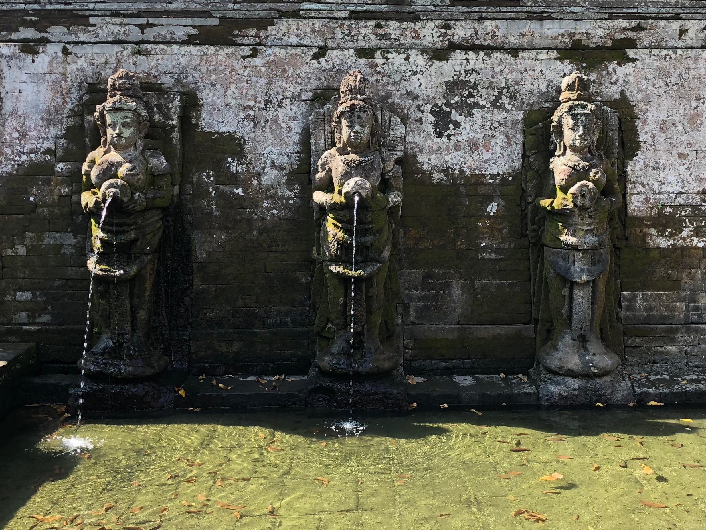 Female Hindu spirits form the fountains