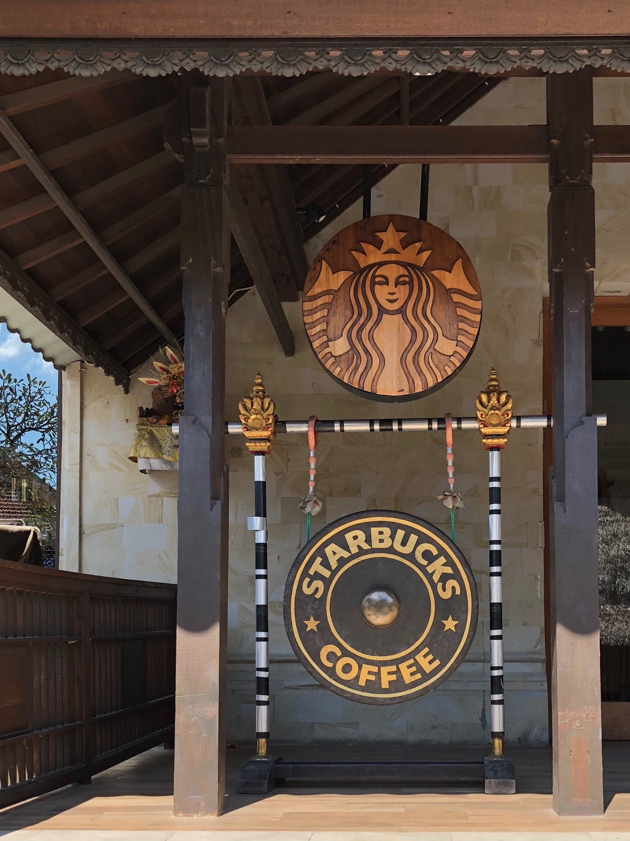 There's a Starbucks right in front of the temple. Grab a venti iced latte on the way out!