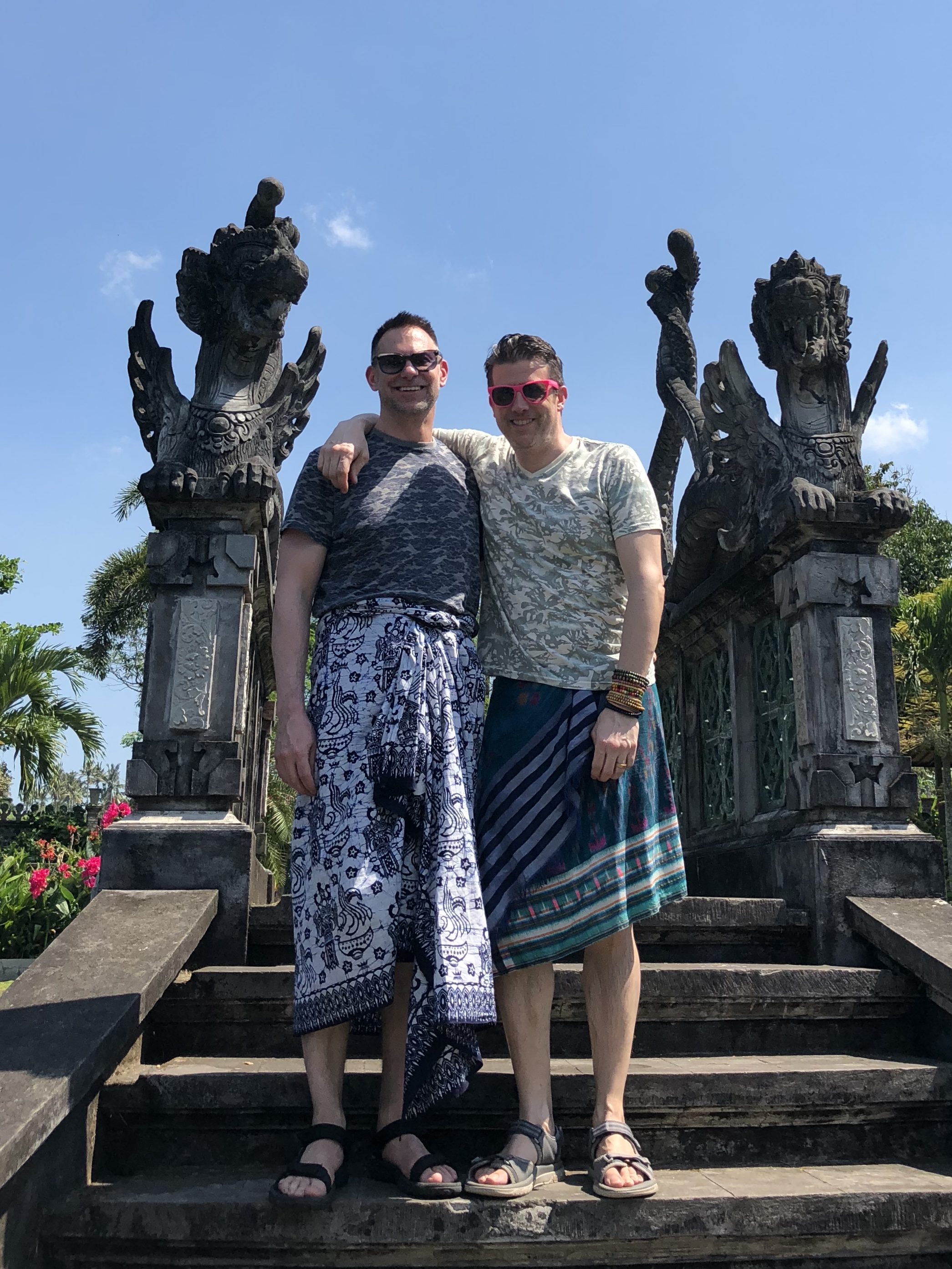 The only thing that would make Duke and Wally even more macho than these sarongs is if they had flowers behind their ears, too