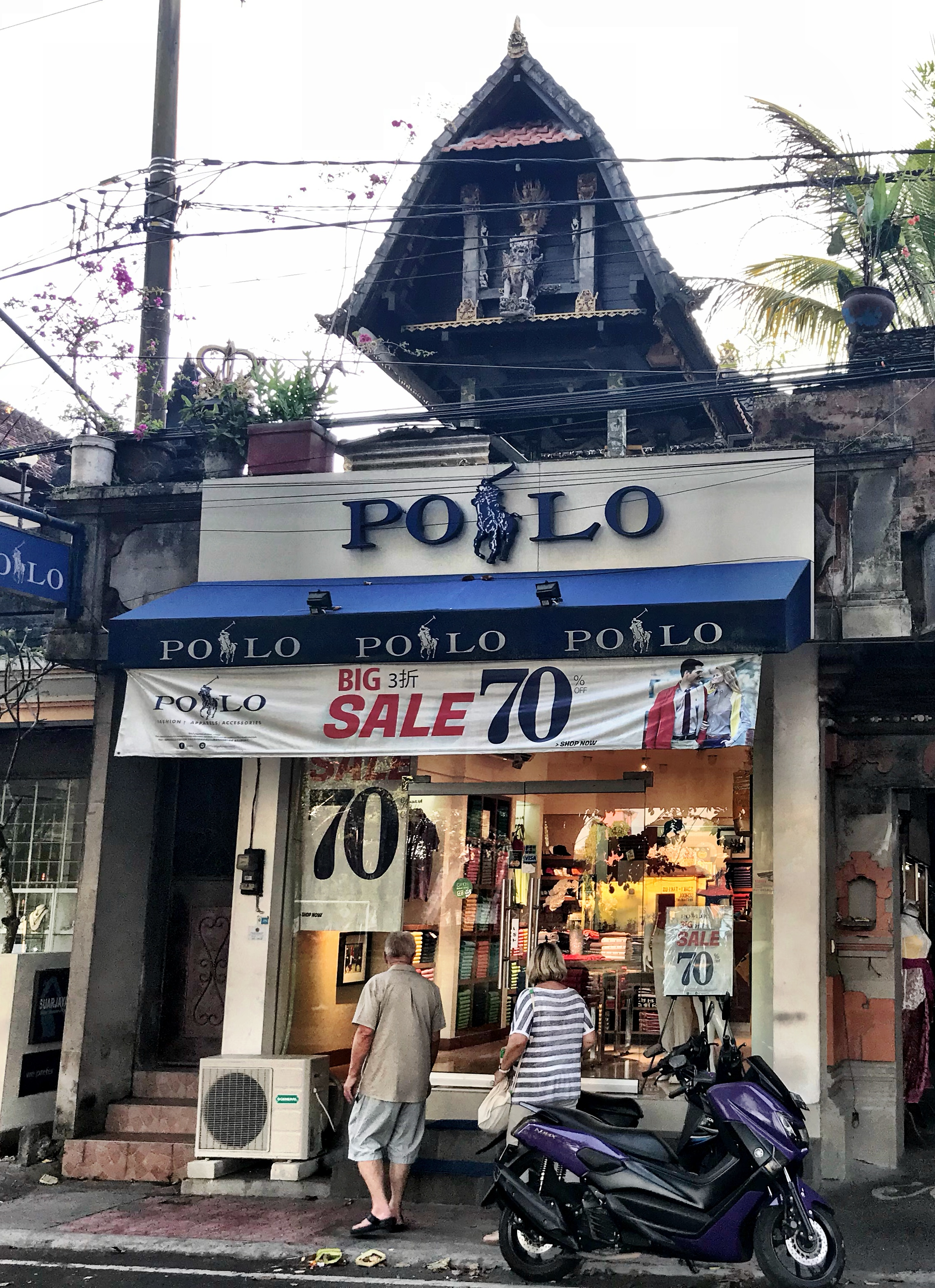 We passed at least four Polo stores in Ubud — and they all seemed to be having a 70% off sale