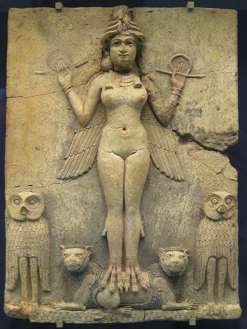This terra cotta carving from Mesopotamia is called  The Queen of the Night  and possibly depicts the demon Lilith