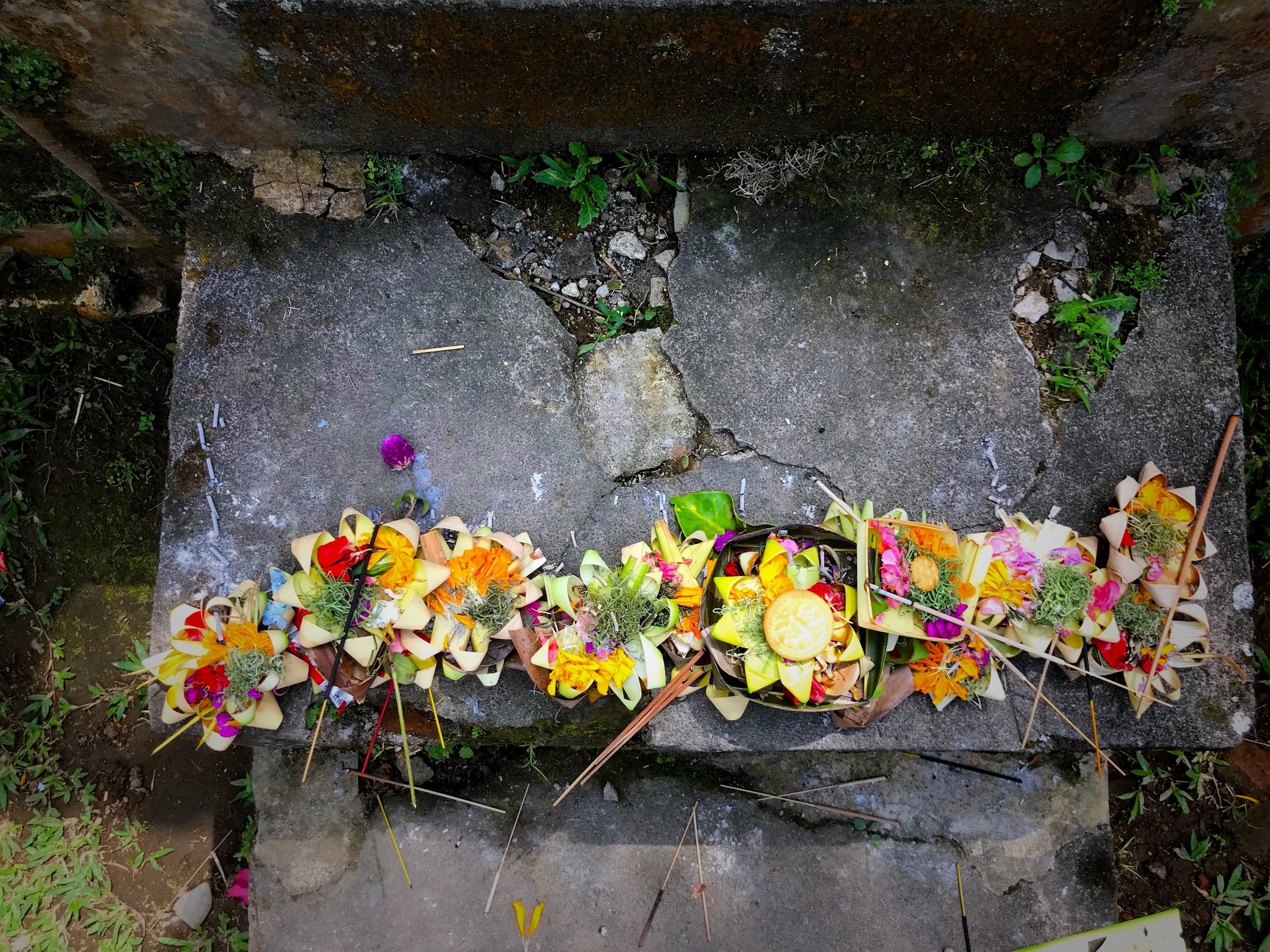 An assortment of daily offerings placed at the threshold of the bathing pools are filled with flowers and sticks of incense