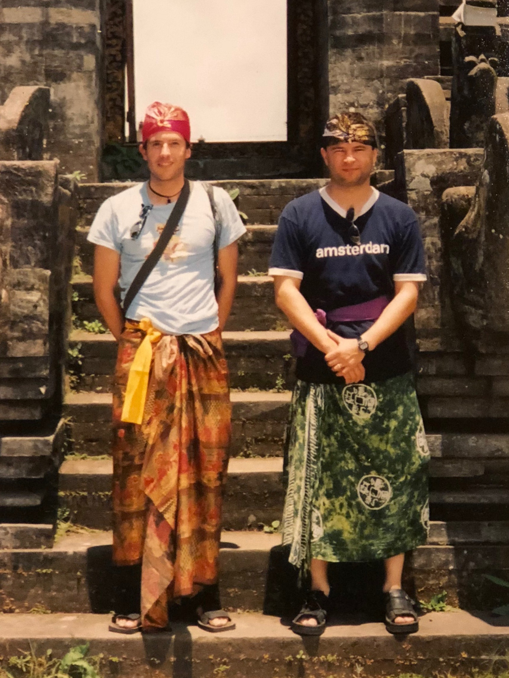 When we visited temples in 2001, there weren't many other tourists, and locals would dress us in sarongs, sashes around our waists and headdresses