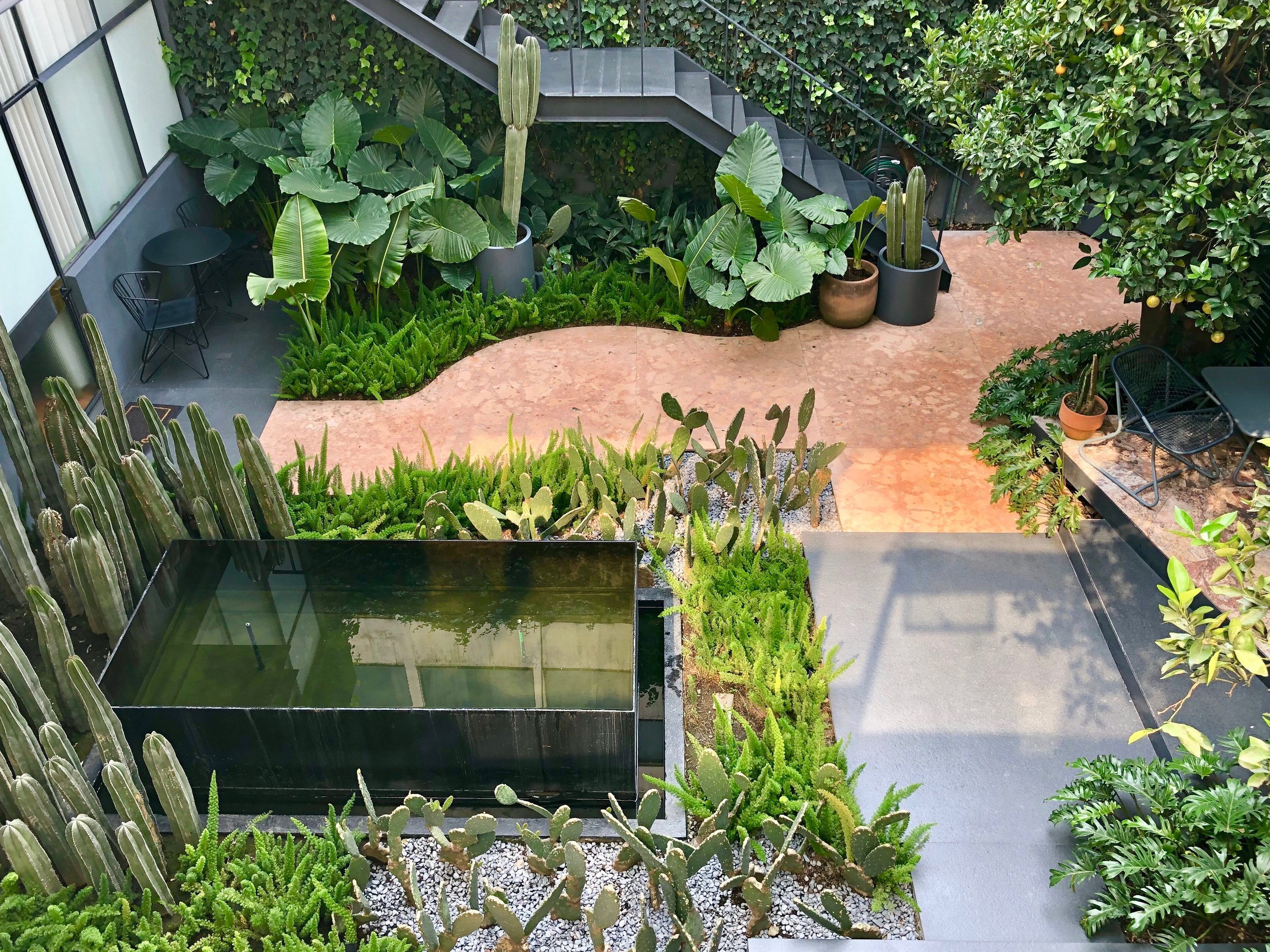 Looking down upon the courtyard patio