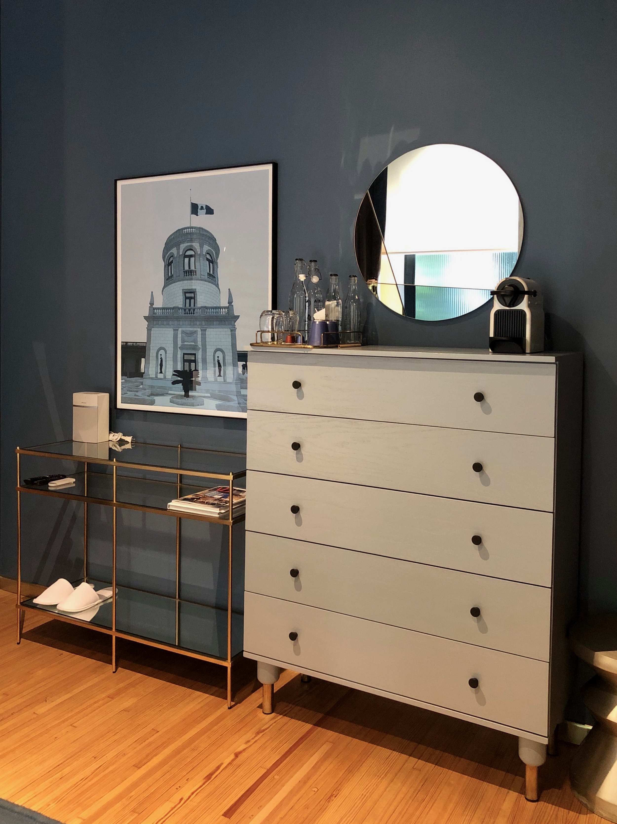 There's plenty of storage in the rooms, including this dresser