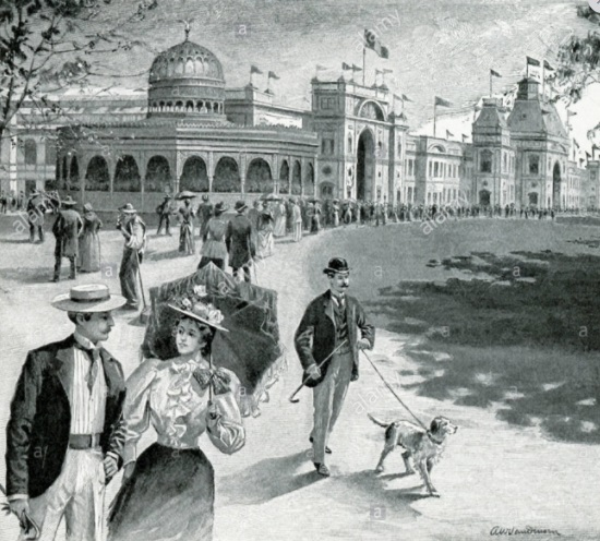 A drawing of the Kiosko Morisco when it was part of the world expo in New Orleans