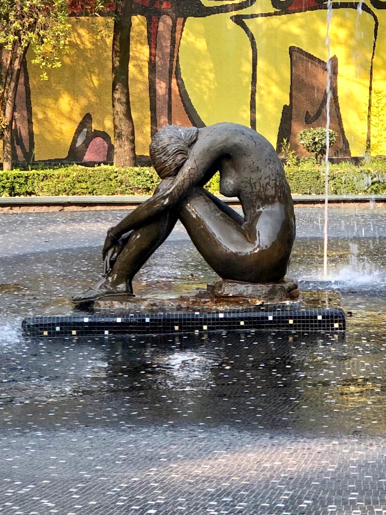 Like the coyote fountain in Plaza Hidalgo, this woman was sculpted by Ponzanelli