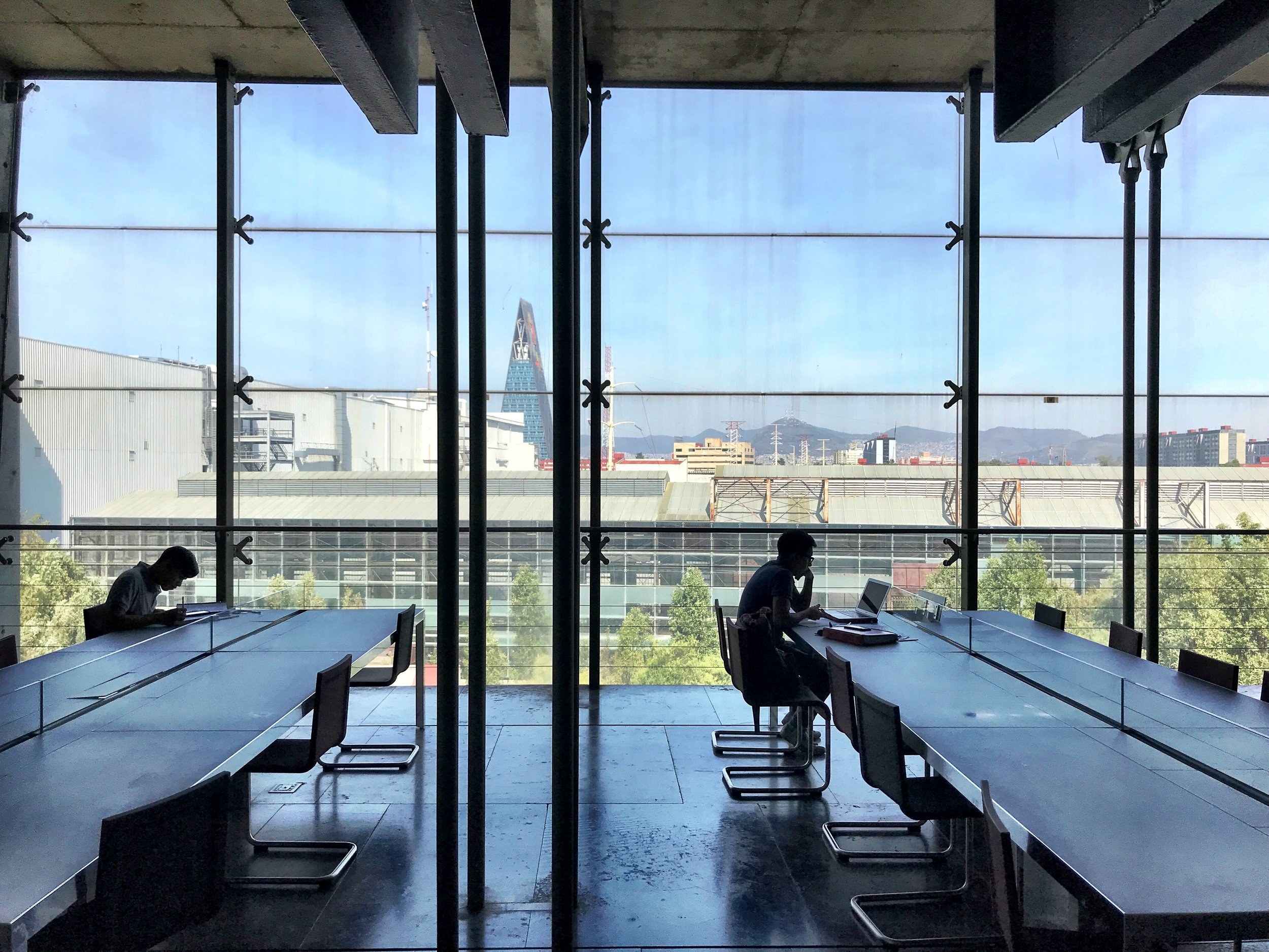 The far ends of the library offer expansive views of the city