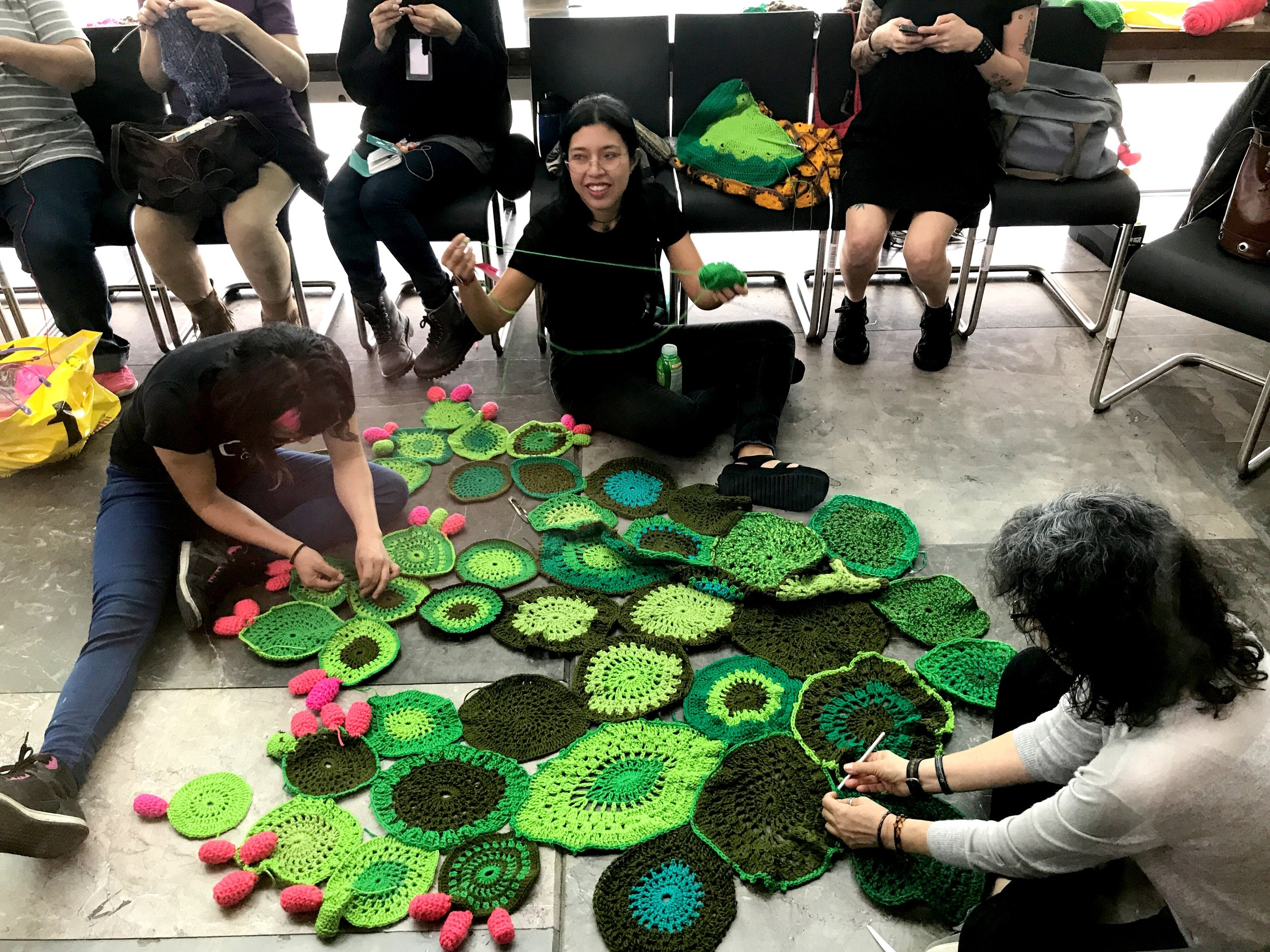 One of the rooms along the sides of the library was filled with women knitting a cool cactus