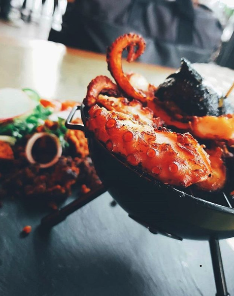 The pulpo, or octopus, at Bowie is served up on the cutest little grill ever