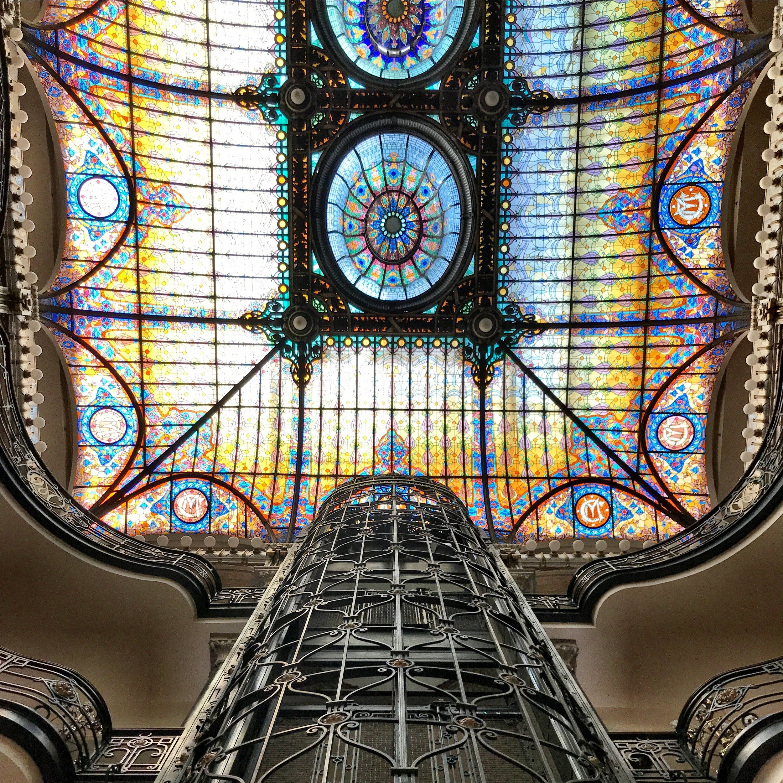 Pop into the lobby of the Gran Hotel to marvel at the stained glass ceiling and ironwork