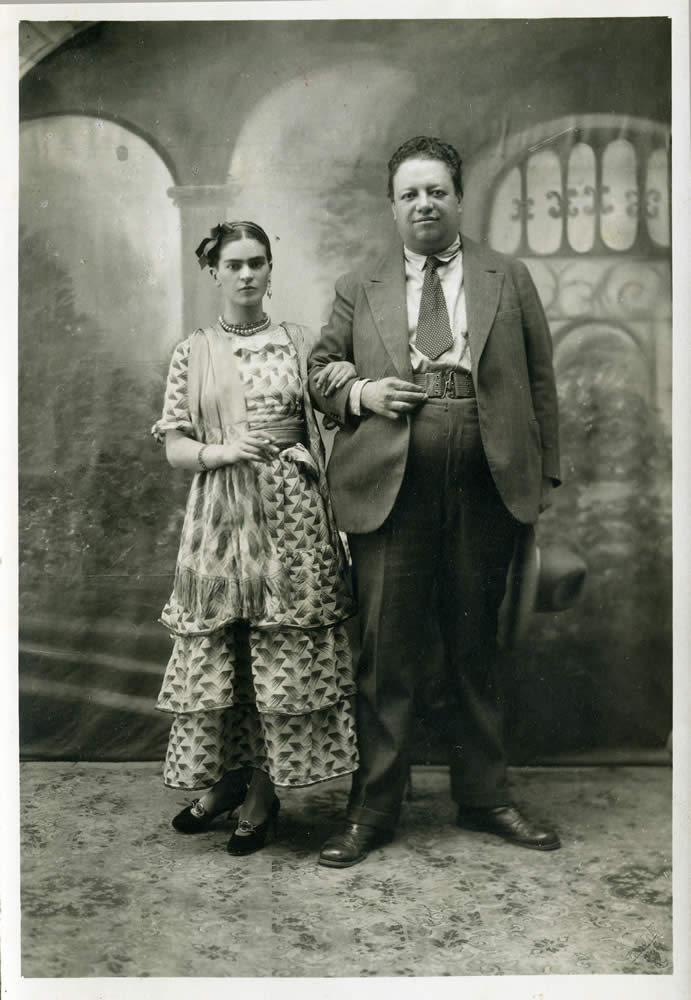 Talk about odd couples! Here's  Wedding Portrait of Frida Kahlo and Diego Rivera  by Victor Reyes, 1929