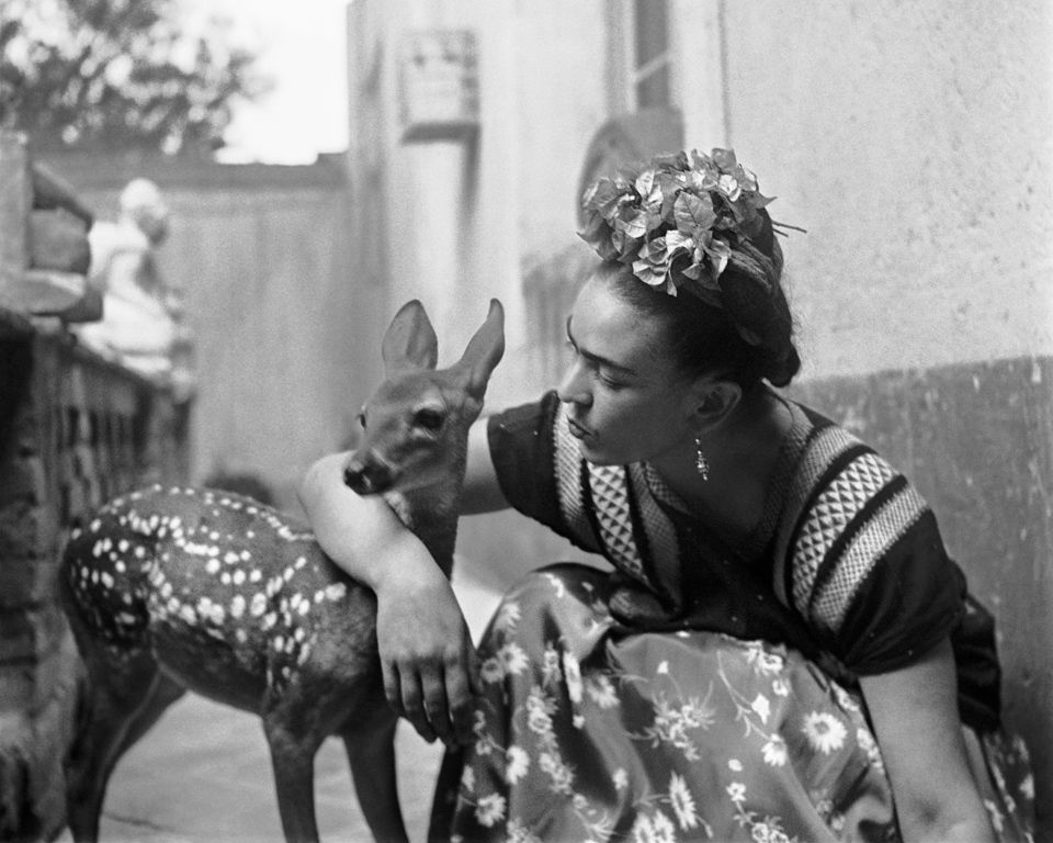 What a deer!  Frida With Granzino ,  Version 2  by Nickolas Muray, 1939