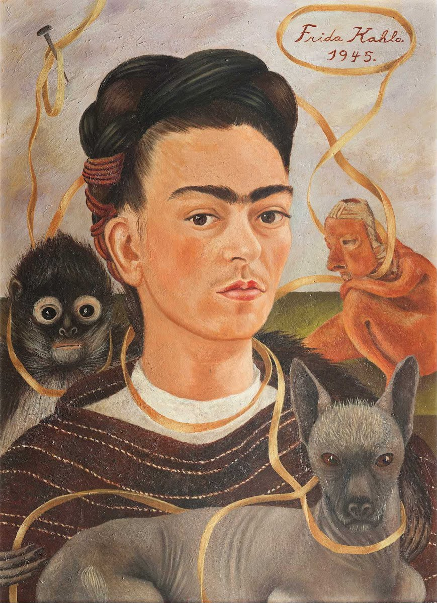 Frida's love of animals is evident in her  Self-Portrait With Small Monkey  from 1945