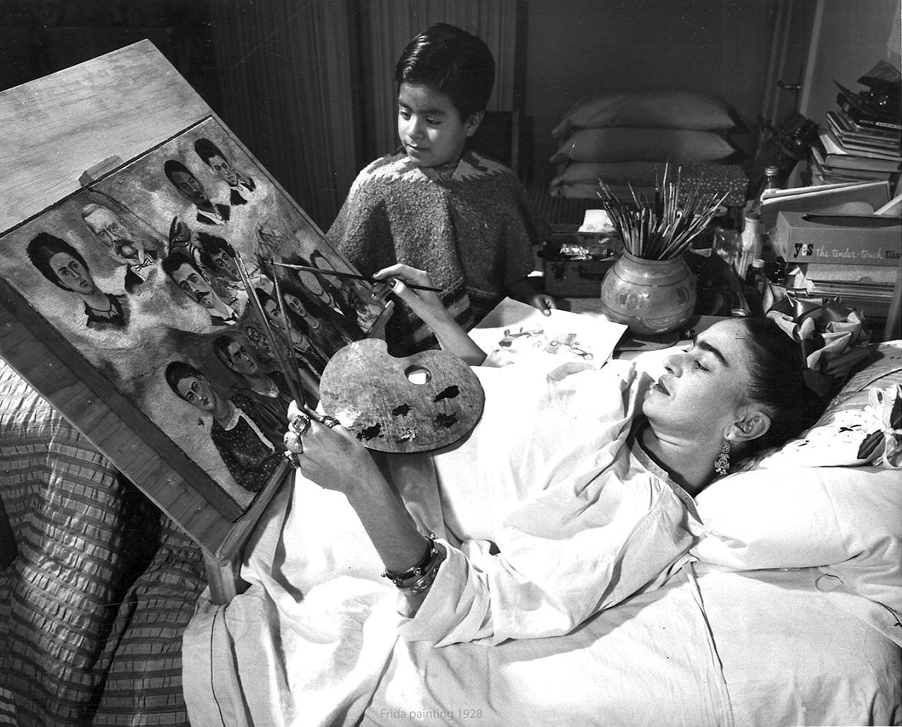 The bed-ridden Frida Kahlo painting  Portrait of My Family  in 1950. Photo by Juan Guzmán