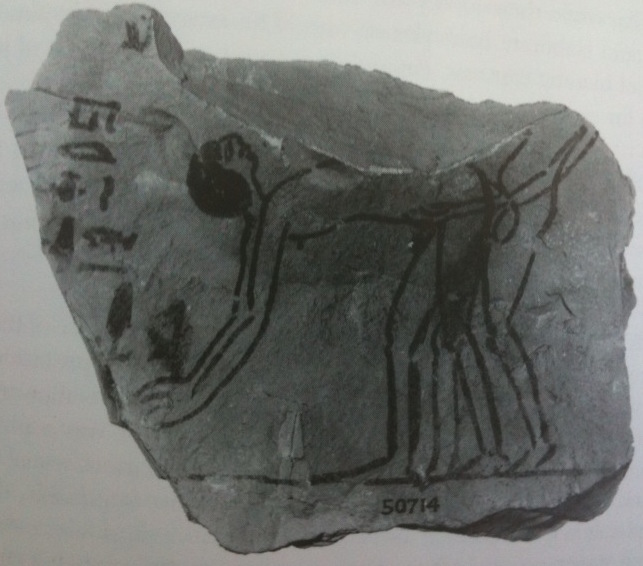 This drawing on a shard of pottery shows that Ancient Egyptians had a gay old time