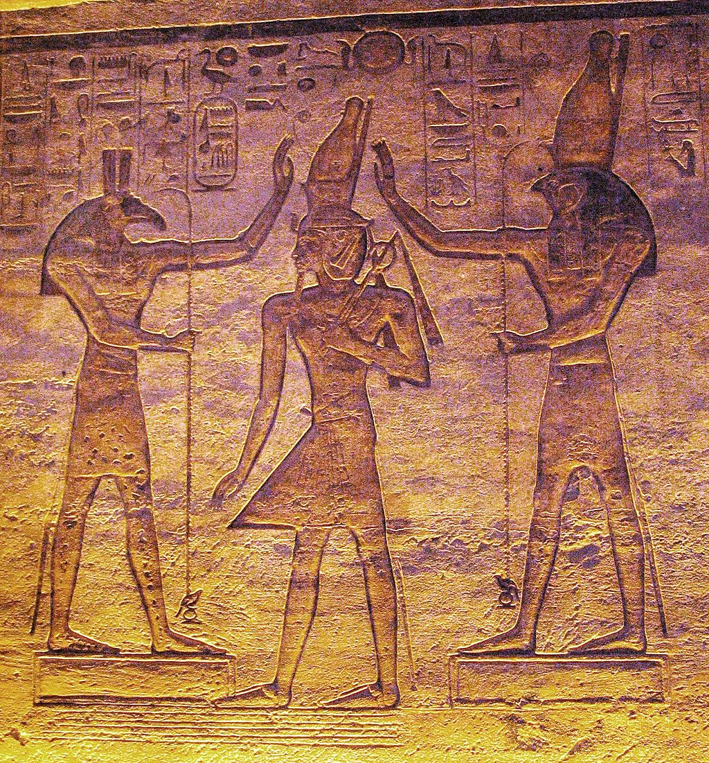 At some point, Horus and Seth seem to have made up, for here they are both adoring a ruler of Ramesside period