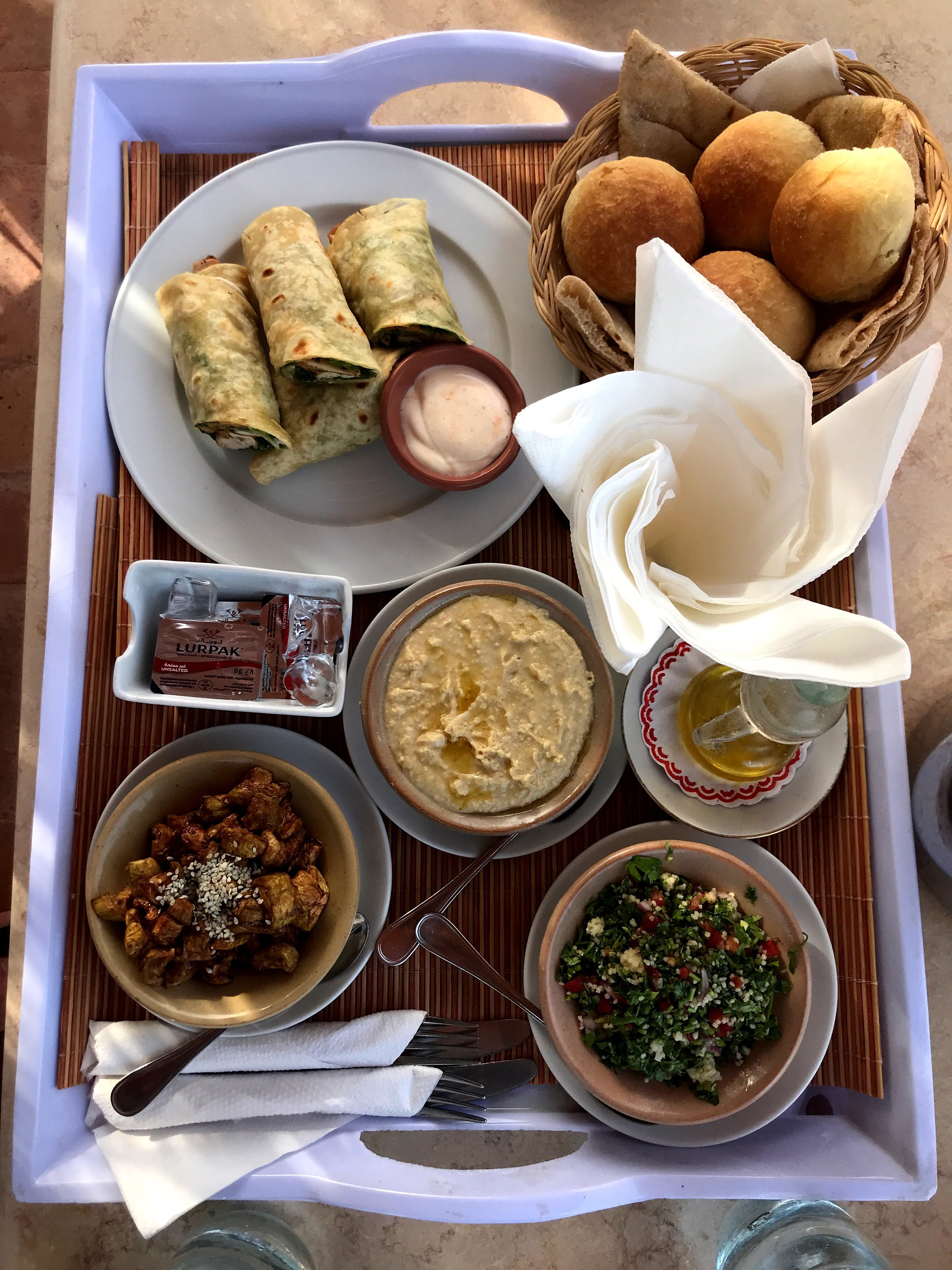 Lunch of mezze, or small dishes, which we enjoyed al fresco by the pool