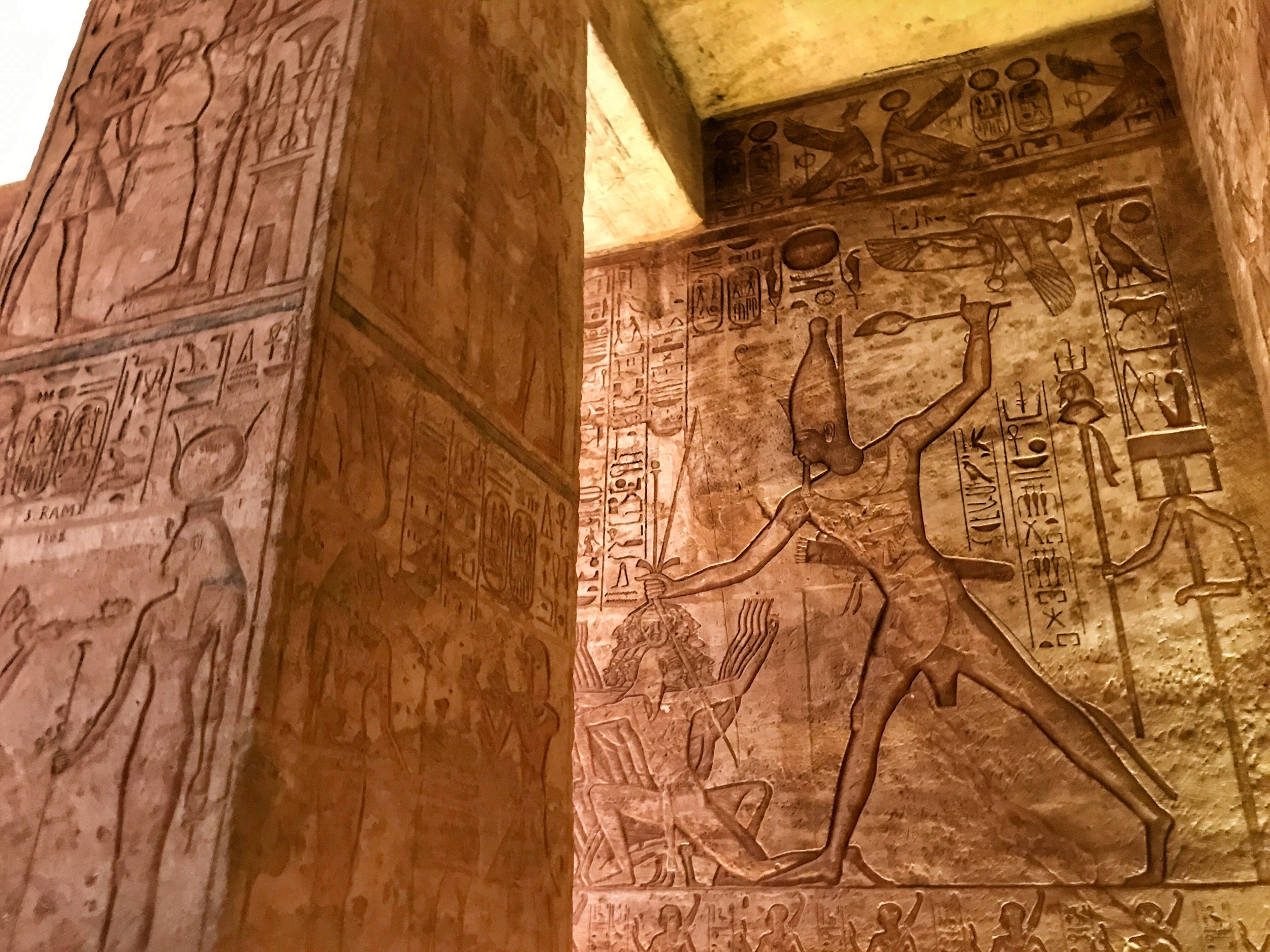 "The reliefs inside showcase Ramesses' military ""victories,"" including the famous Battle of Kadesh, which actually ended in a draw"