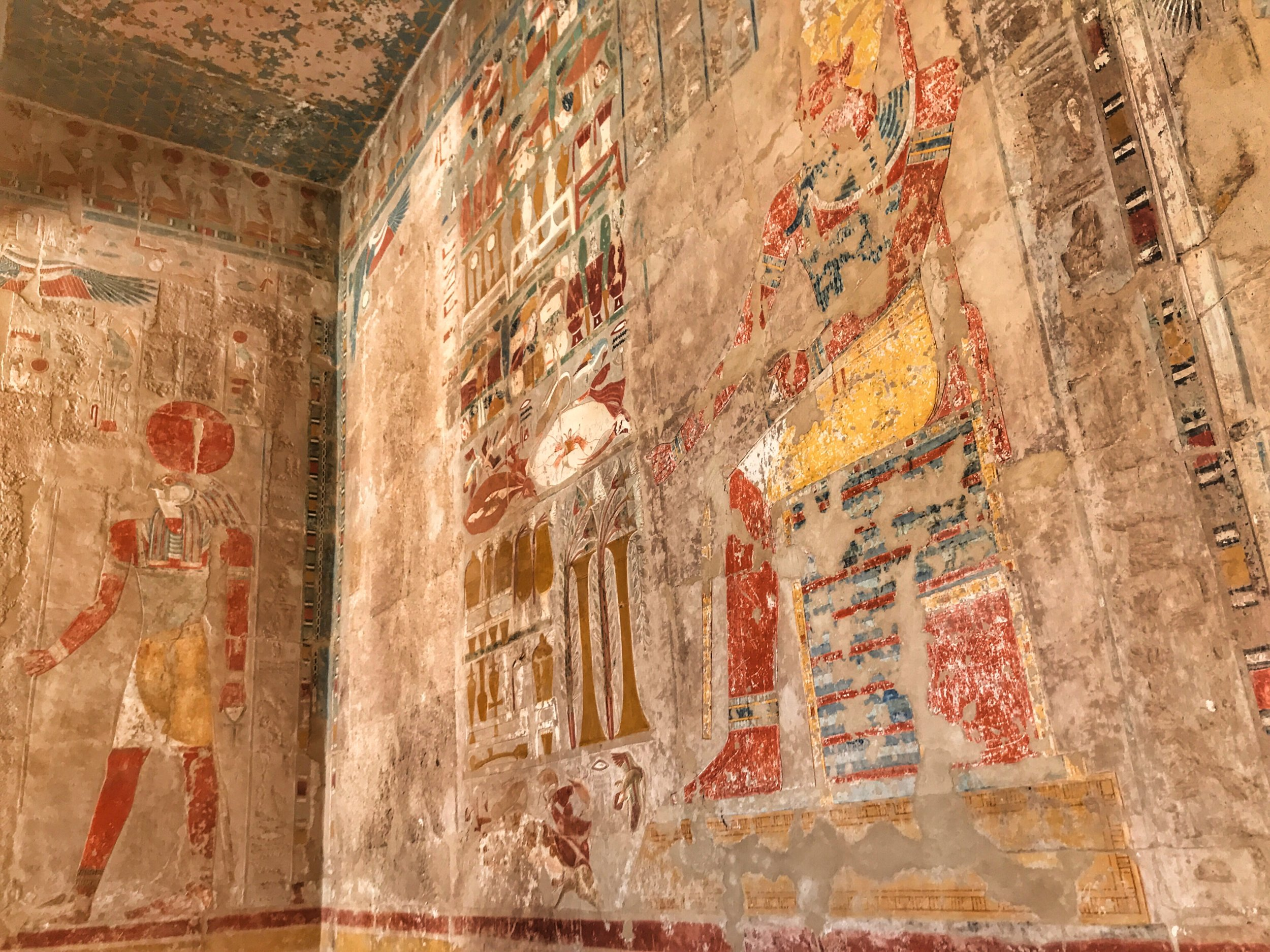 Colorful friezes in the Chapel of Anubis