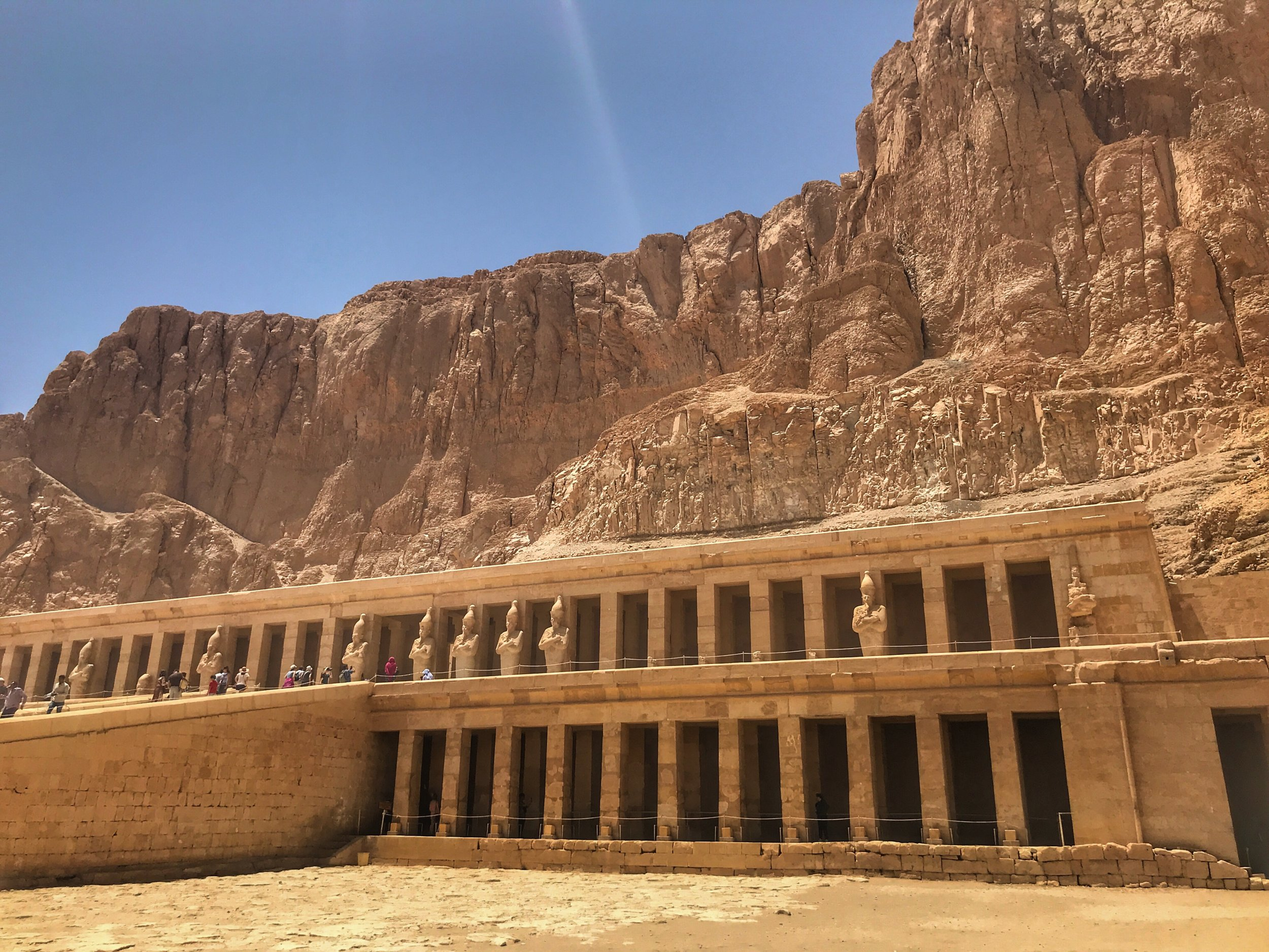 The innovative terraced and columned Mortuary Temple of Hatshepsut in what was once the city of Thebes