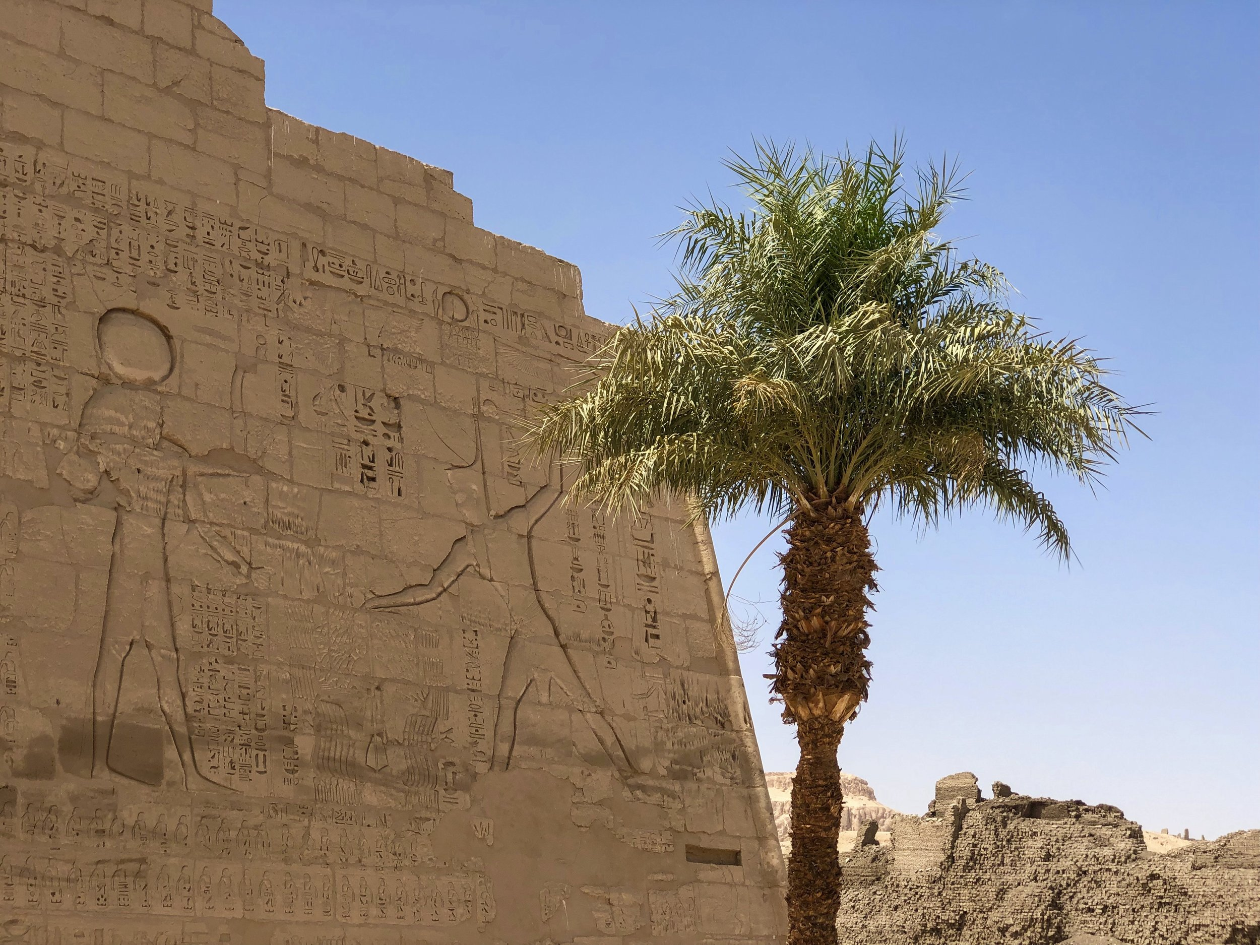 The bas-reliefs on the pylon gateways depict Ramesses III's victory over the fierce Sea Peoples