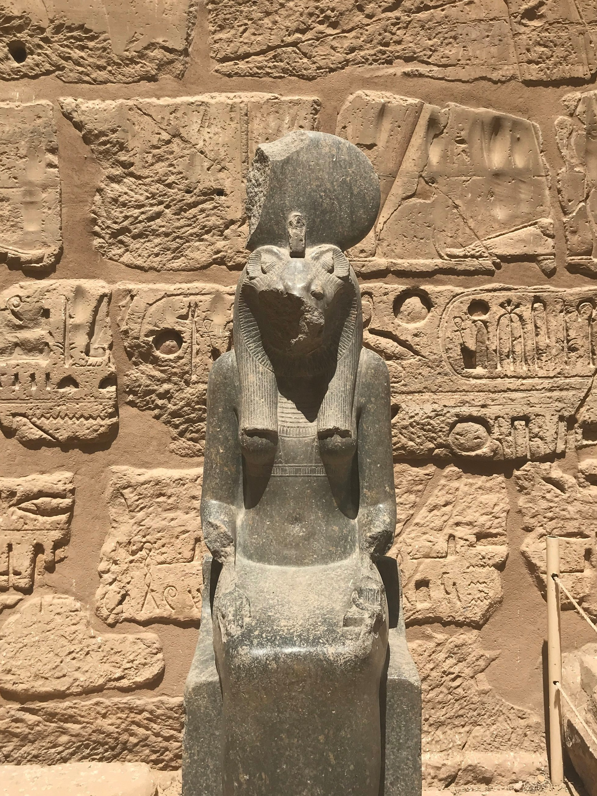 Upon entry, there are decaying statues of Sekhmet, the lioness-headed goddess of war
