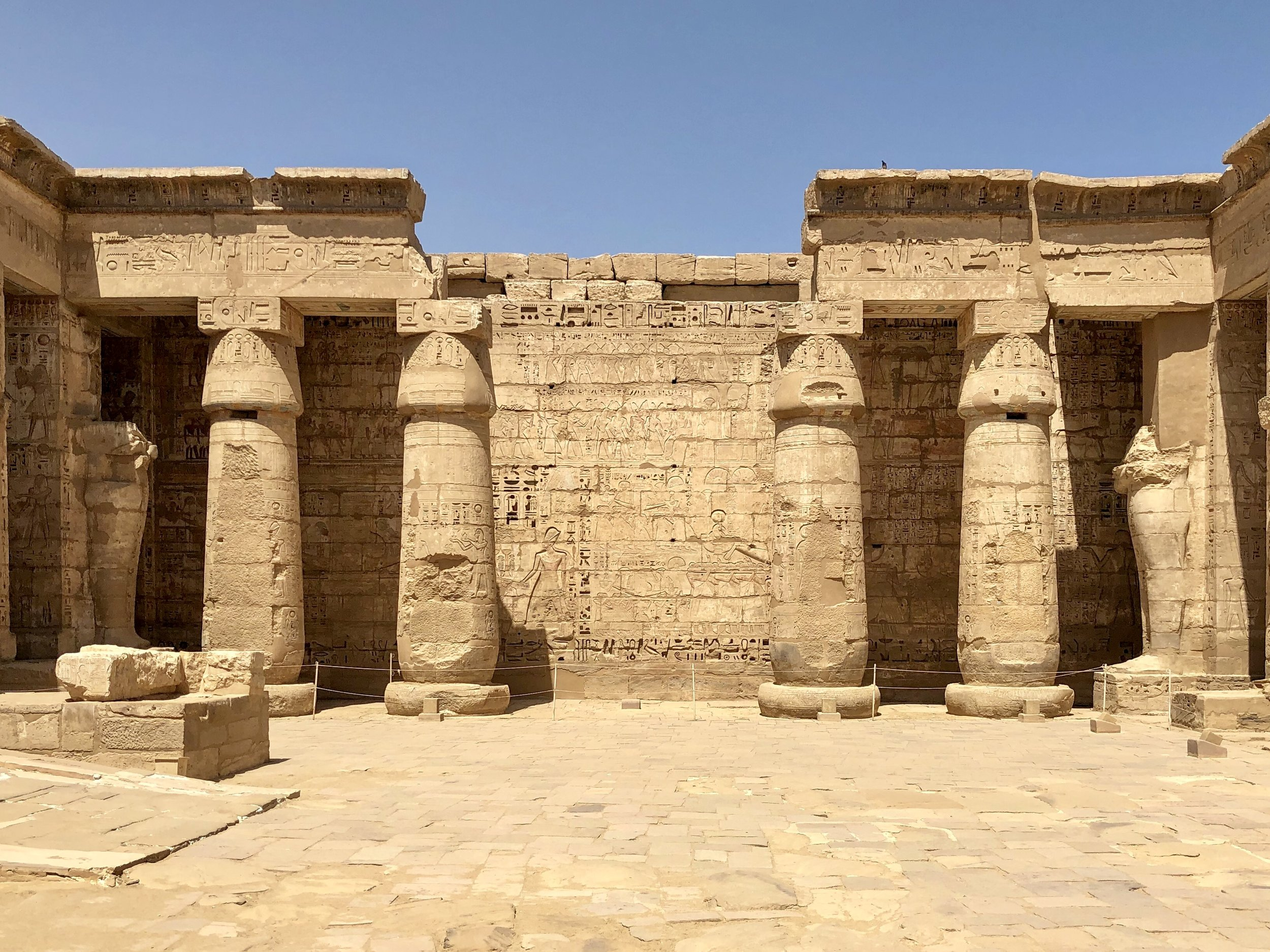 Like many other Ancient Egyptian temples, you proceed through a series of courtyards