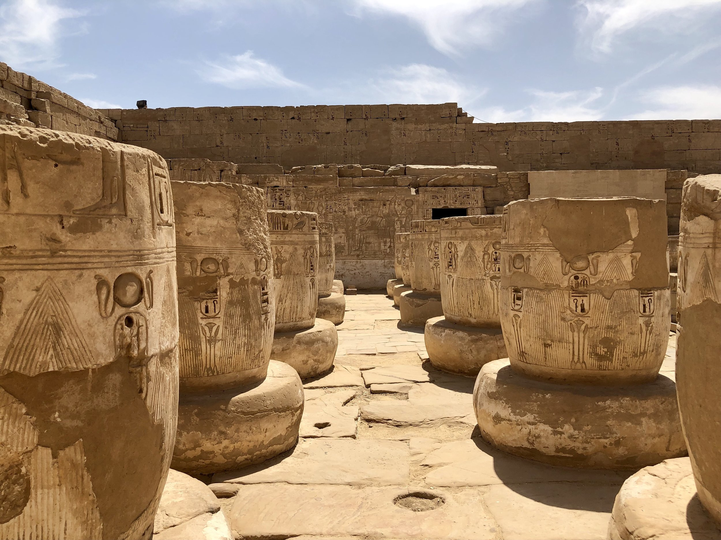 Out back is the Great Hypostyle Hall, modeled after Karnak's — again Ramesses III gained inspiration from his father, Ramesses II