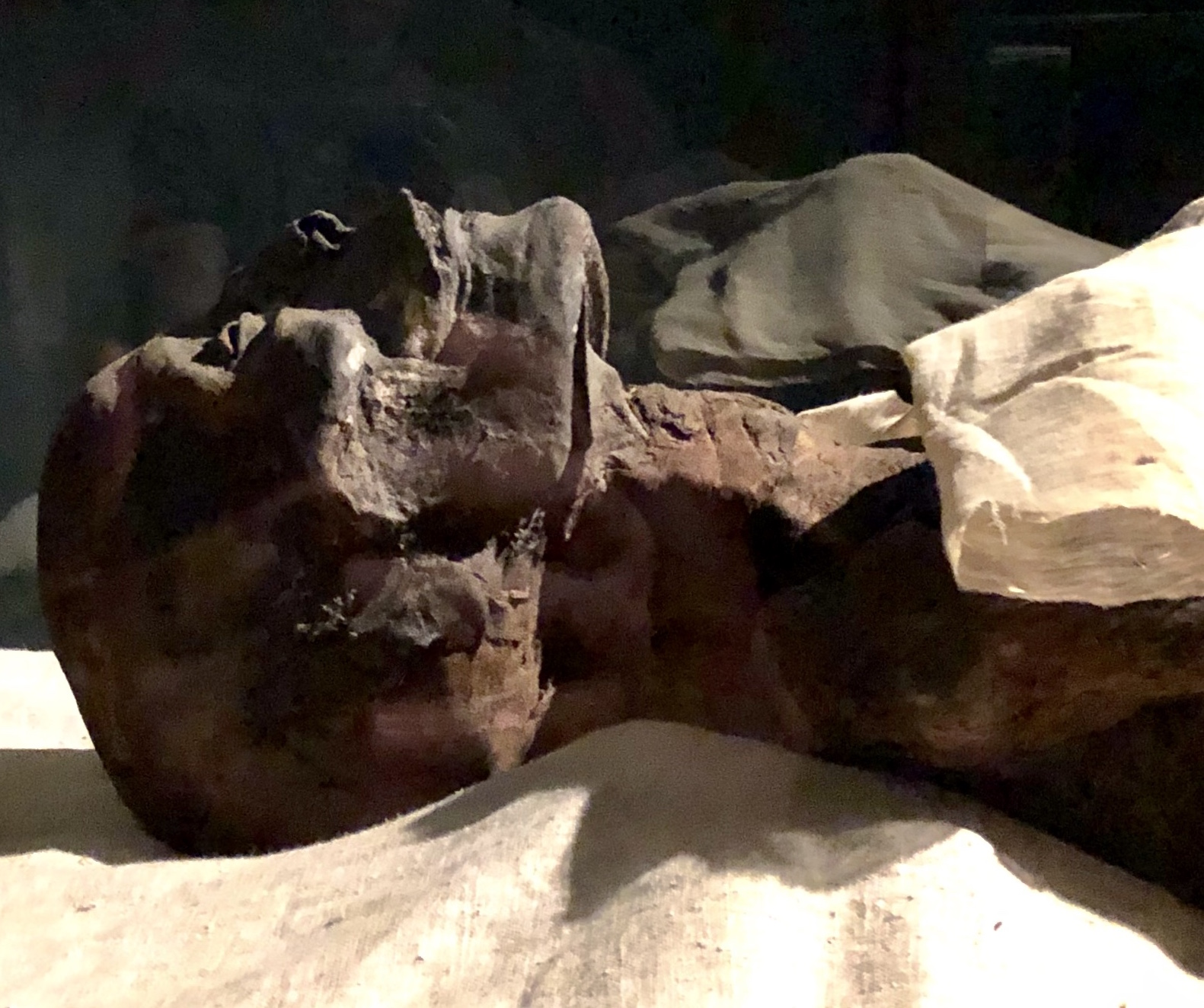 The mummy of Pharaoh Ramesses I as seen in the Luxor Museum. (You can't take photos of the mummies in the Egyptian Museum in Cairo)