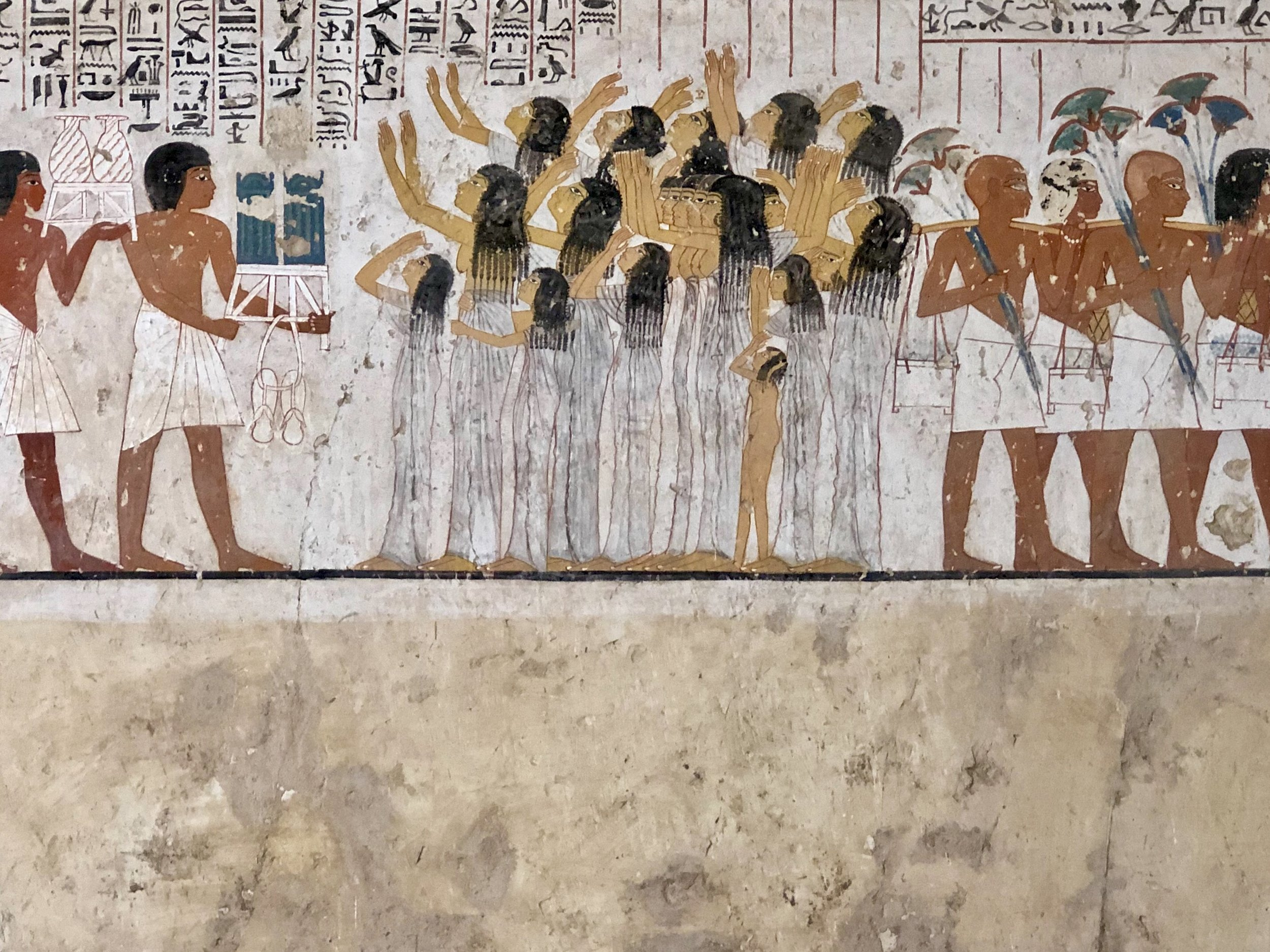 A group of wailing women from the tomb of the royal vizier Ramose in the Valley of the Nobles in Thebes (modern-day Luxor)
