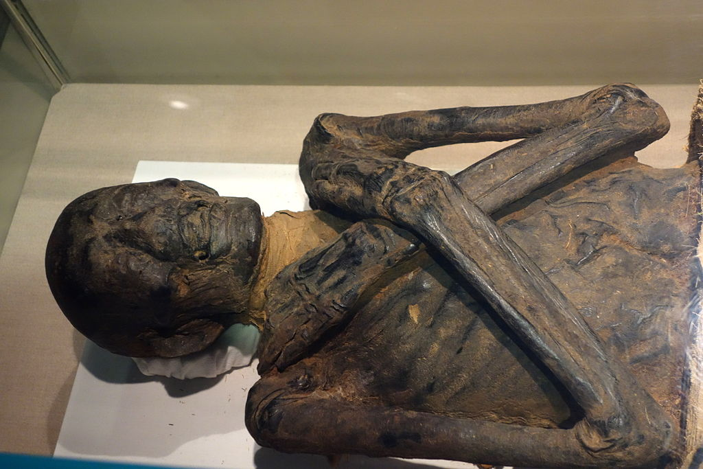 To turn a corpse into a mummy, it was packed with salt and left to dehydrate for 40 days on a slanted bed so all the fluids would drain