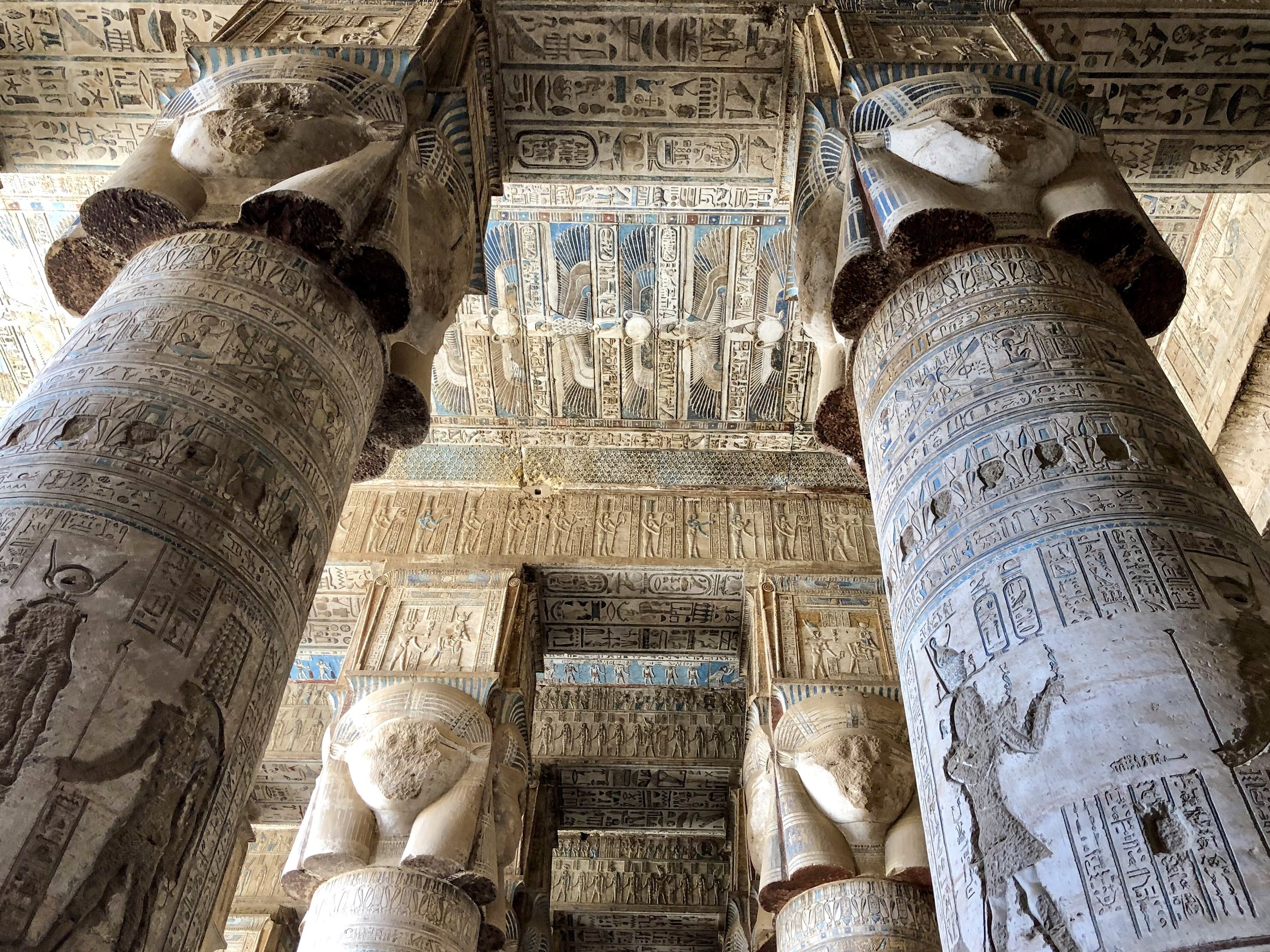 It's sad to see that every single image of Hathor atop the columns has been vandalized